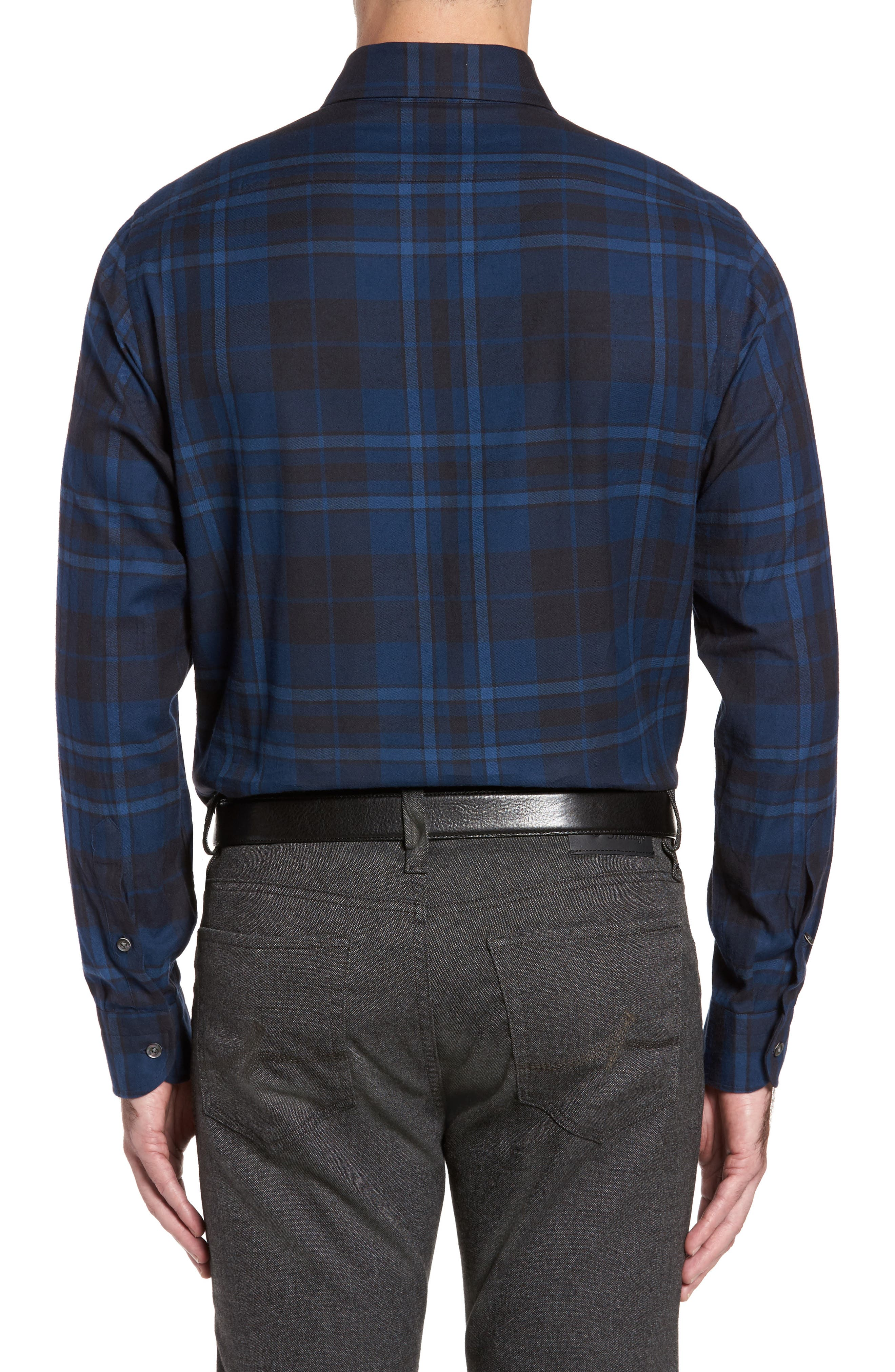 Alternate Image 2  - Luciano Barbera Trim Fit Plaid Sport Shirt