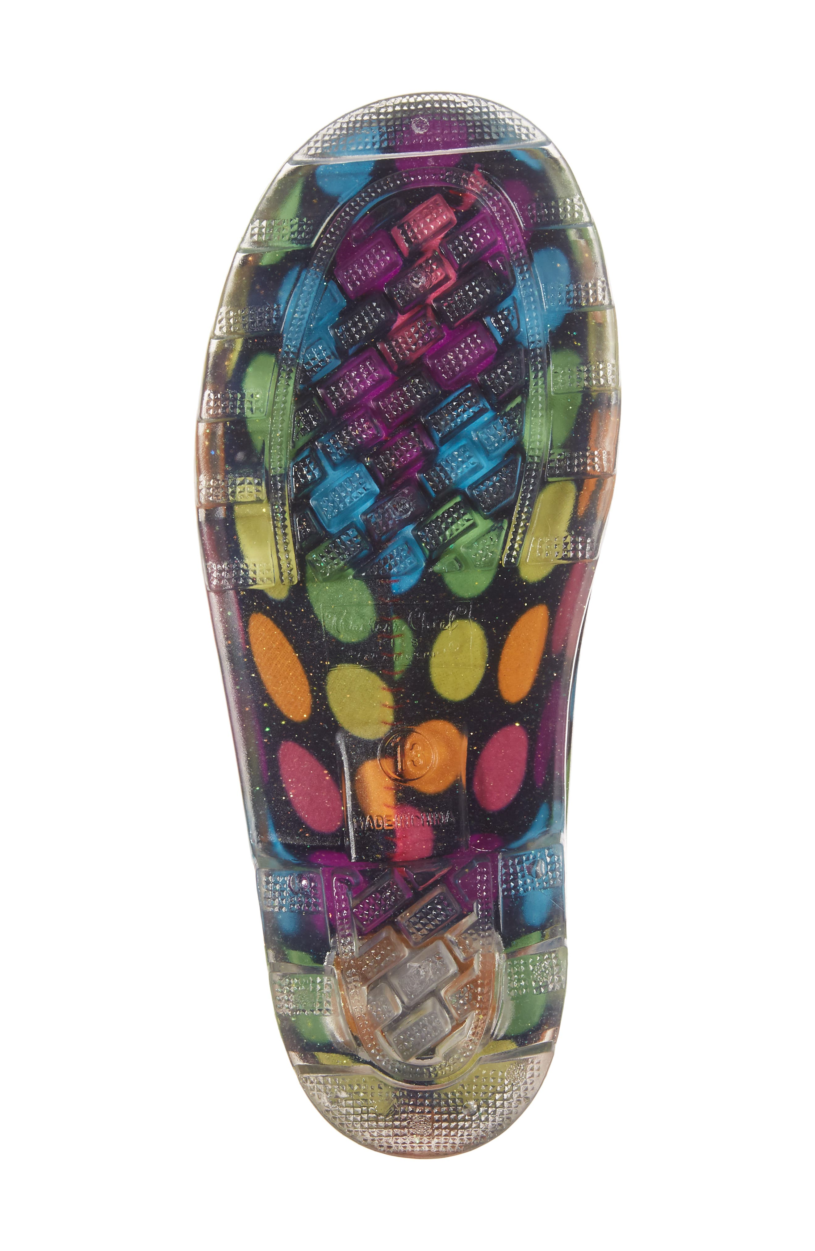 Darling Dot Light-Up Rain Boot,                             Alternate thumbnail 6, color,                             Multi