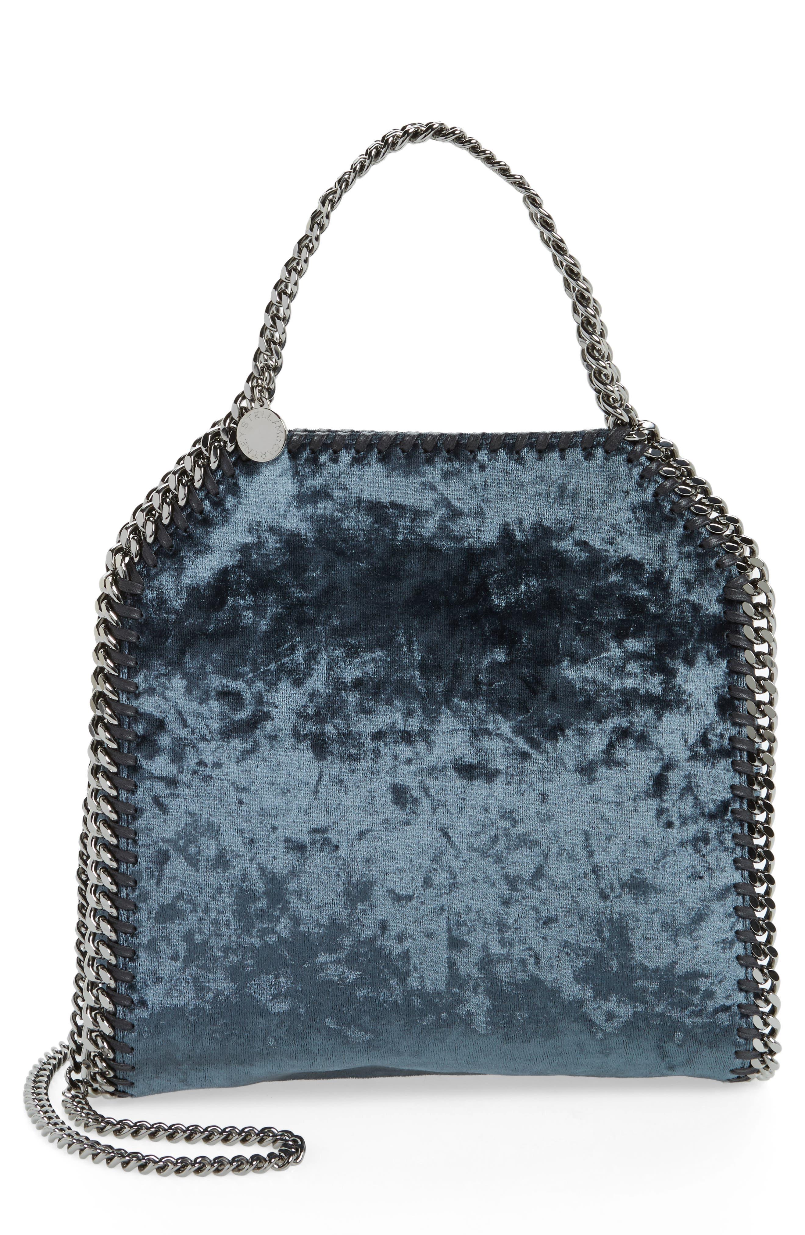 Mini Falabella Crushed Velvet Bag,                             Main thumbnail 1, color,                             Charcoal