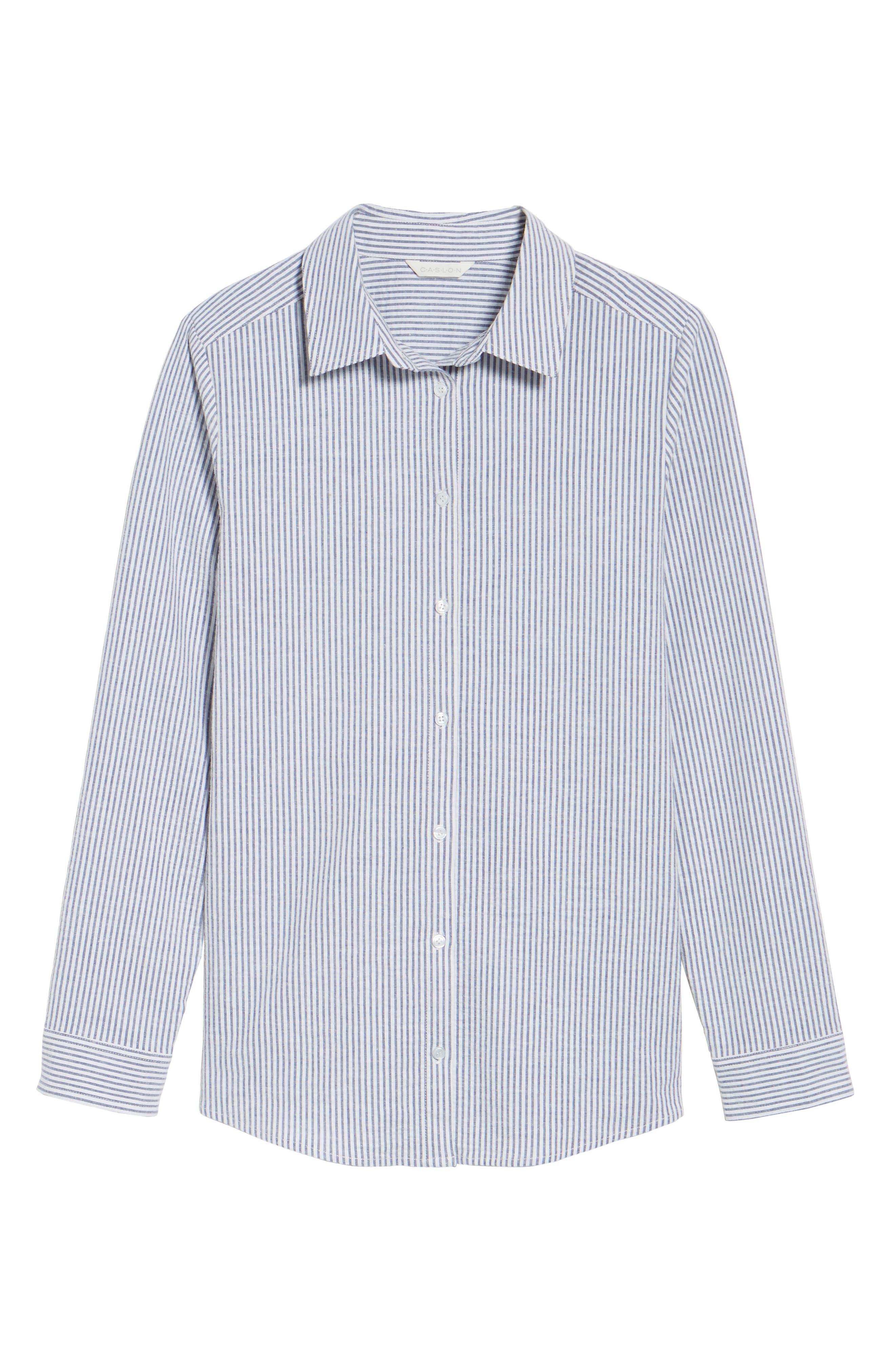 Caslon Button Front Shirt,                             Alternate thumbnail 6, color,                             Blue- White Seersucker