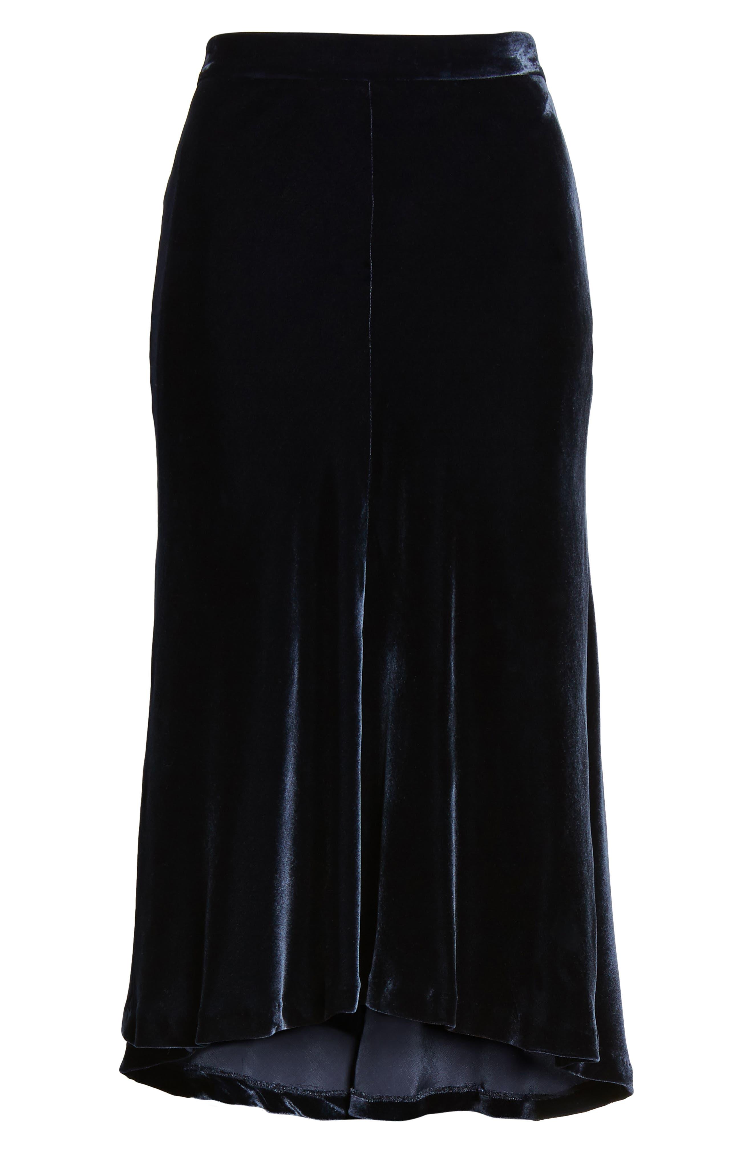 High/Low Velvet Skirt,                             Alternate thumbnail 8, color,                             Navy Night