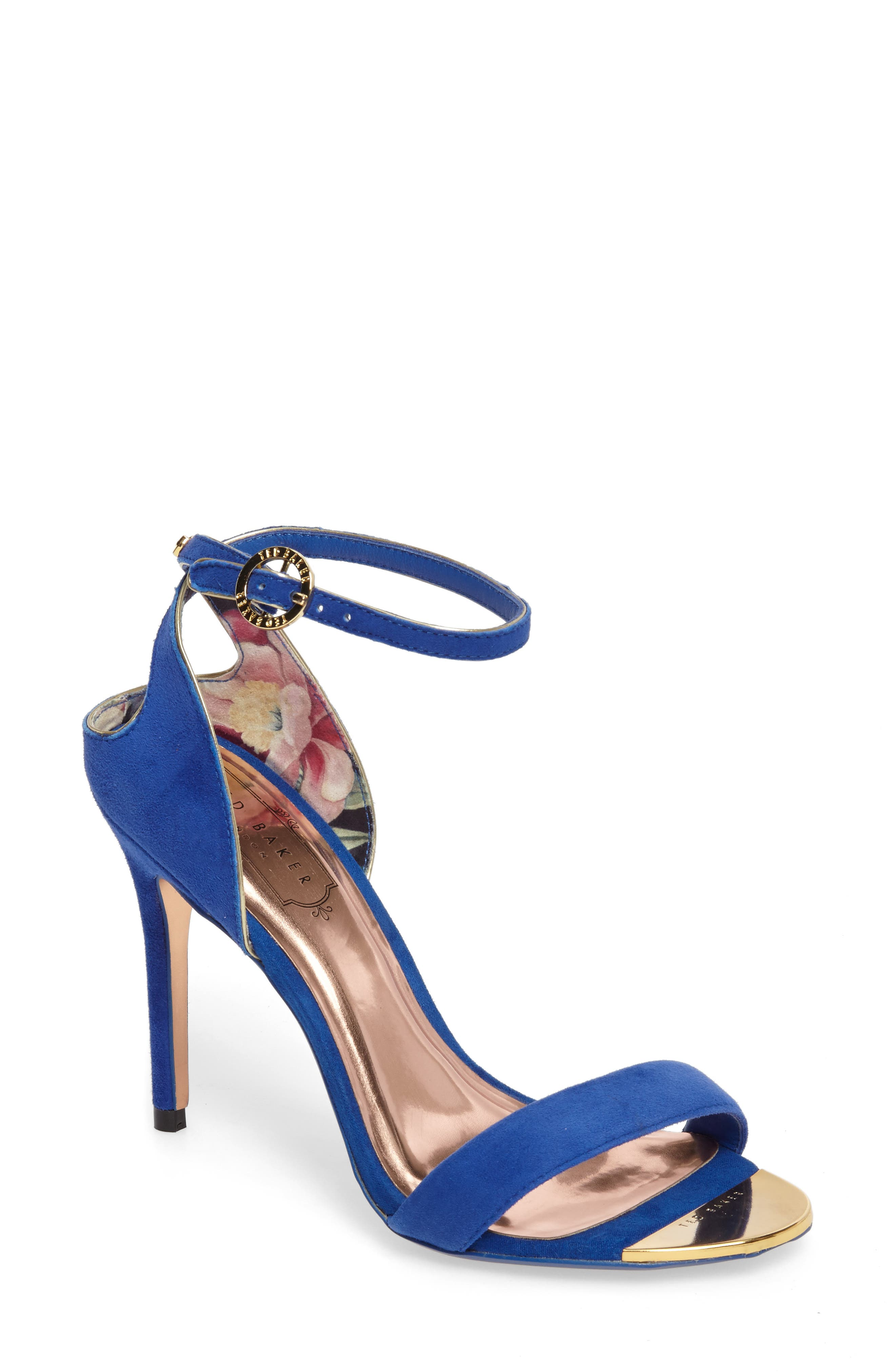 Mirobell Ankle Strap Sandal,                             Main thumbnail 1, color,                             Blue Suede