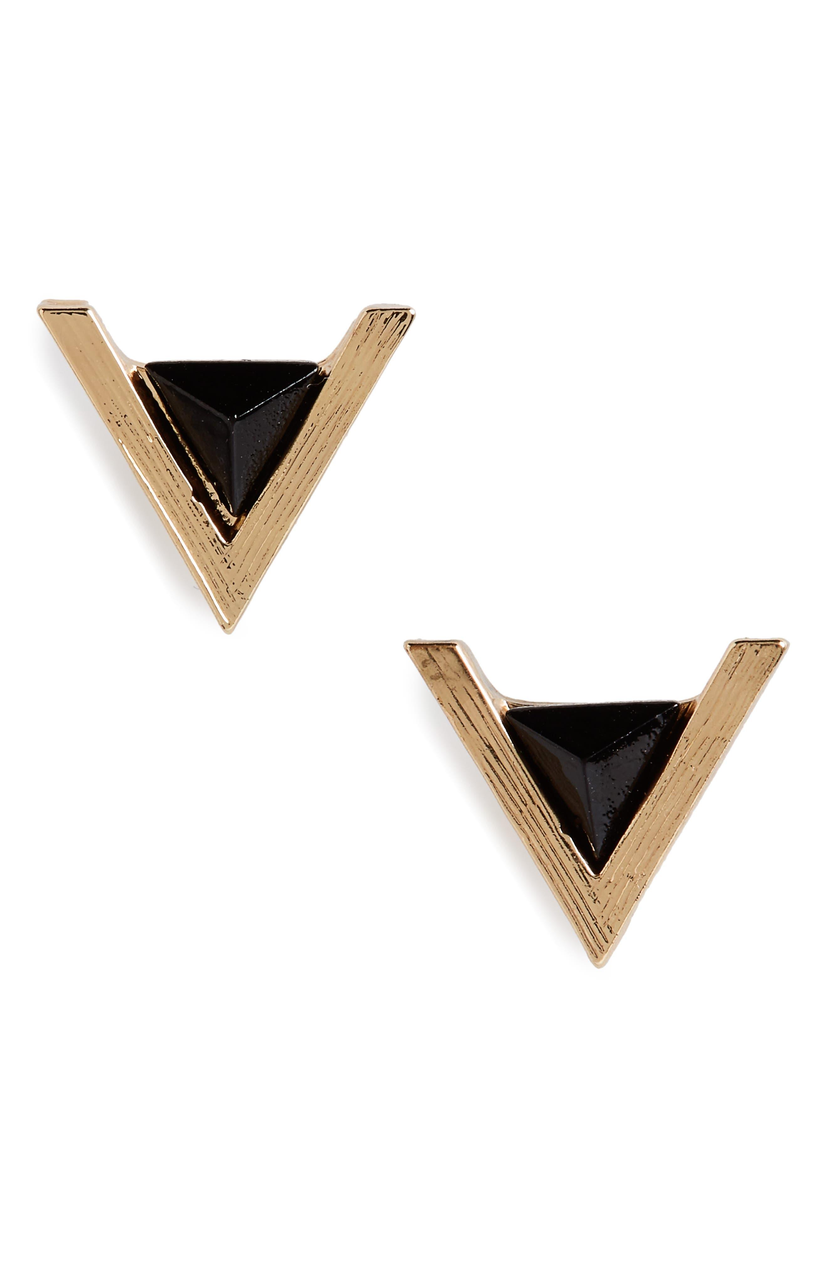 Cara Triangle Stone Stud Earrings