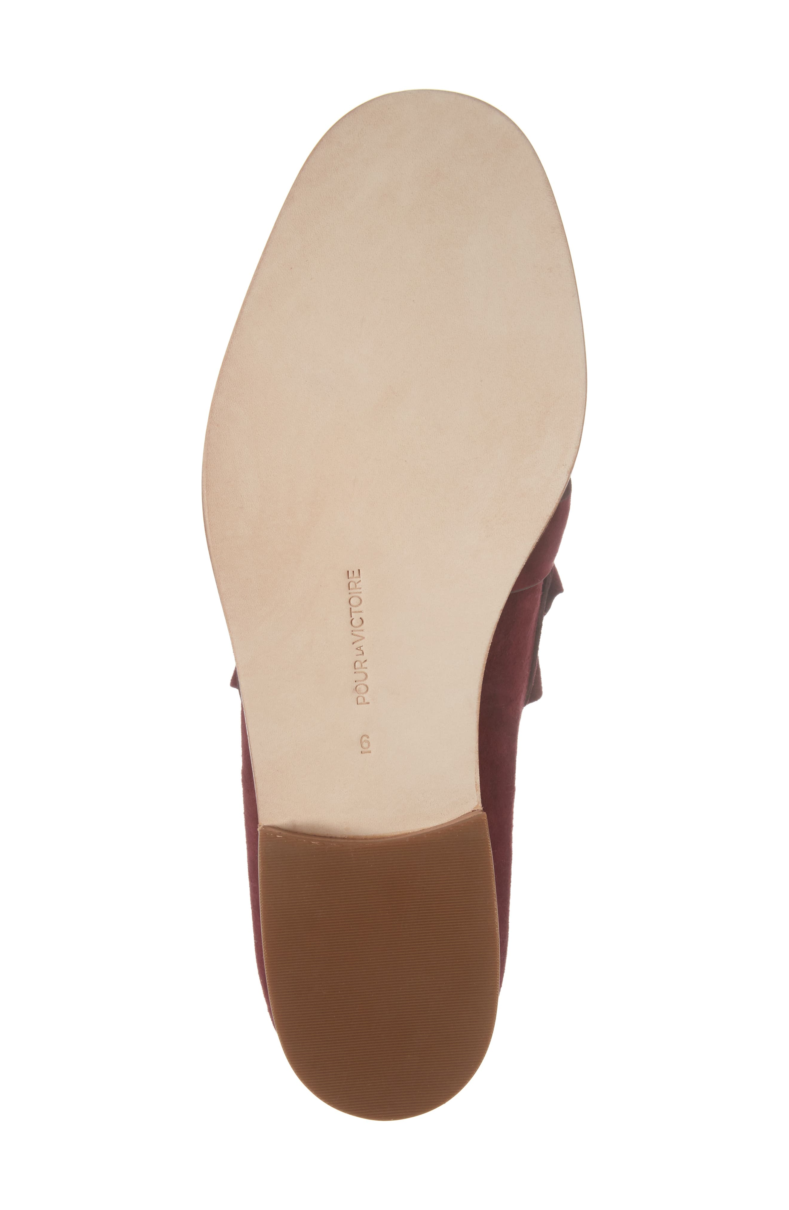 Tenley Ruffled Loafer,                             Alternate thumbnail 6, color,                             Merlot Suede