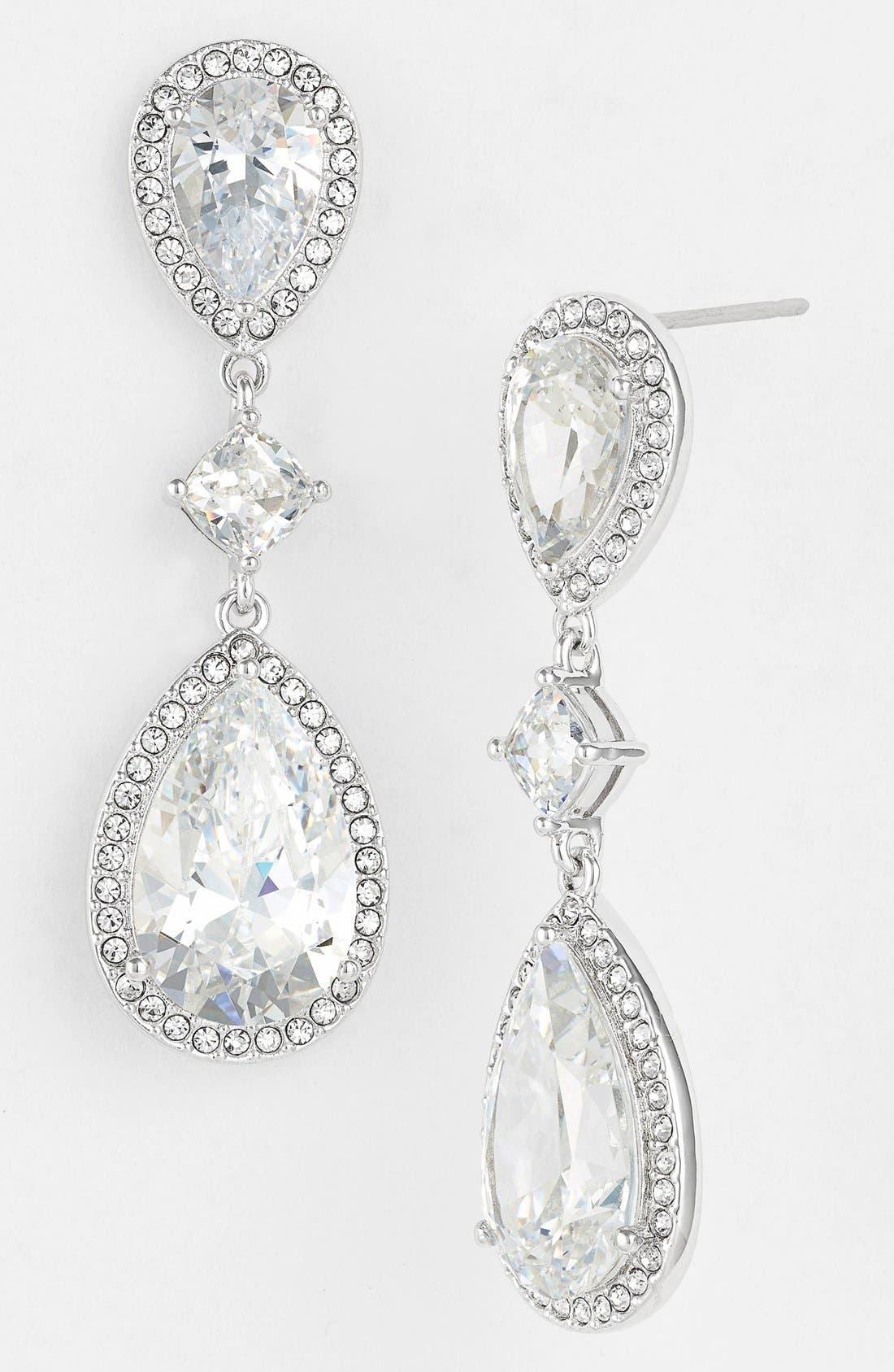 Cubic Zirconia Drop Earrings,                         Main,                         color, Silver