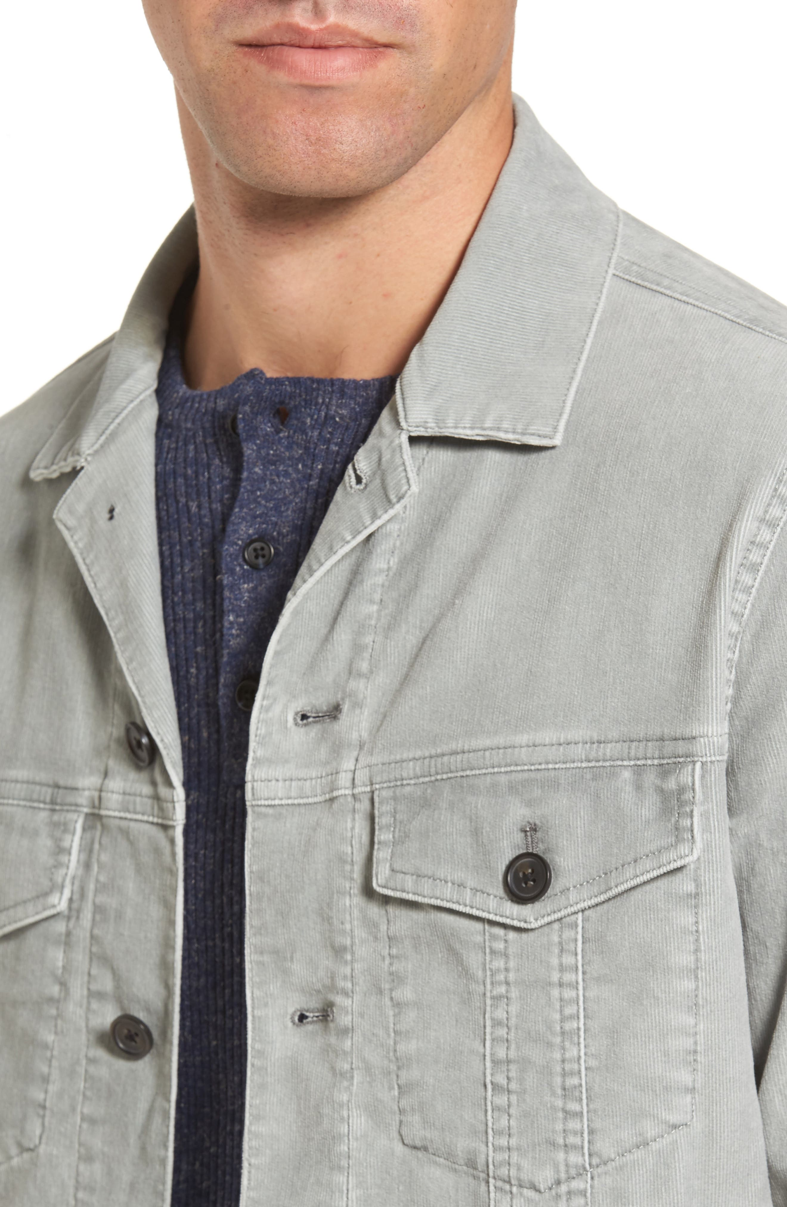 Pigment Dyed Stretch Corduroy Jacket,                             Alternate thumbnail 4, color,                             Green Moss
