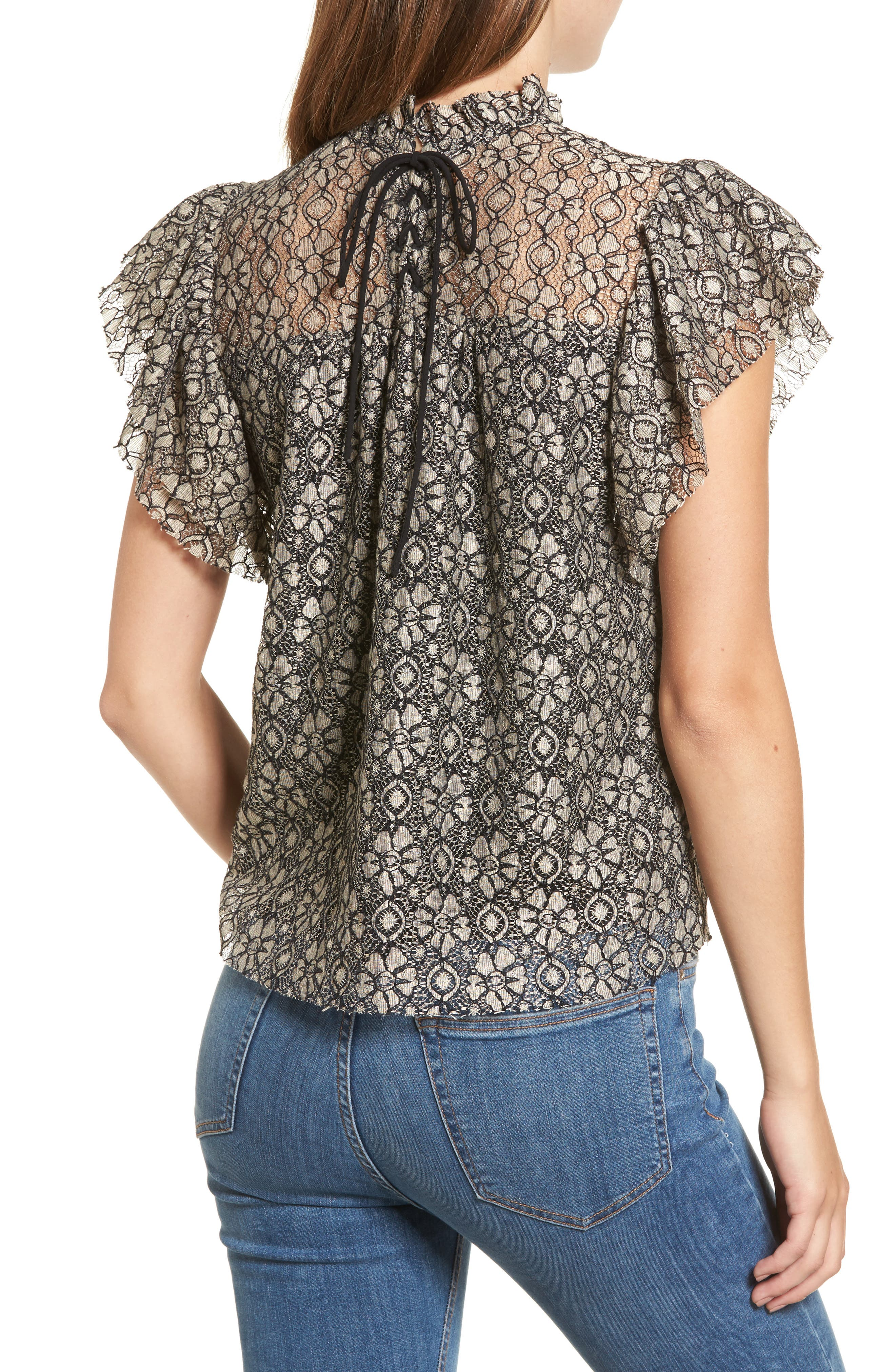 Ruffle Lace Top,                             Alternate thumbnail 2, color,                             Taupe/ Black
