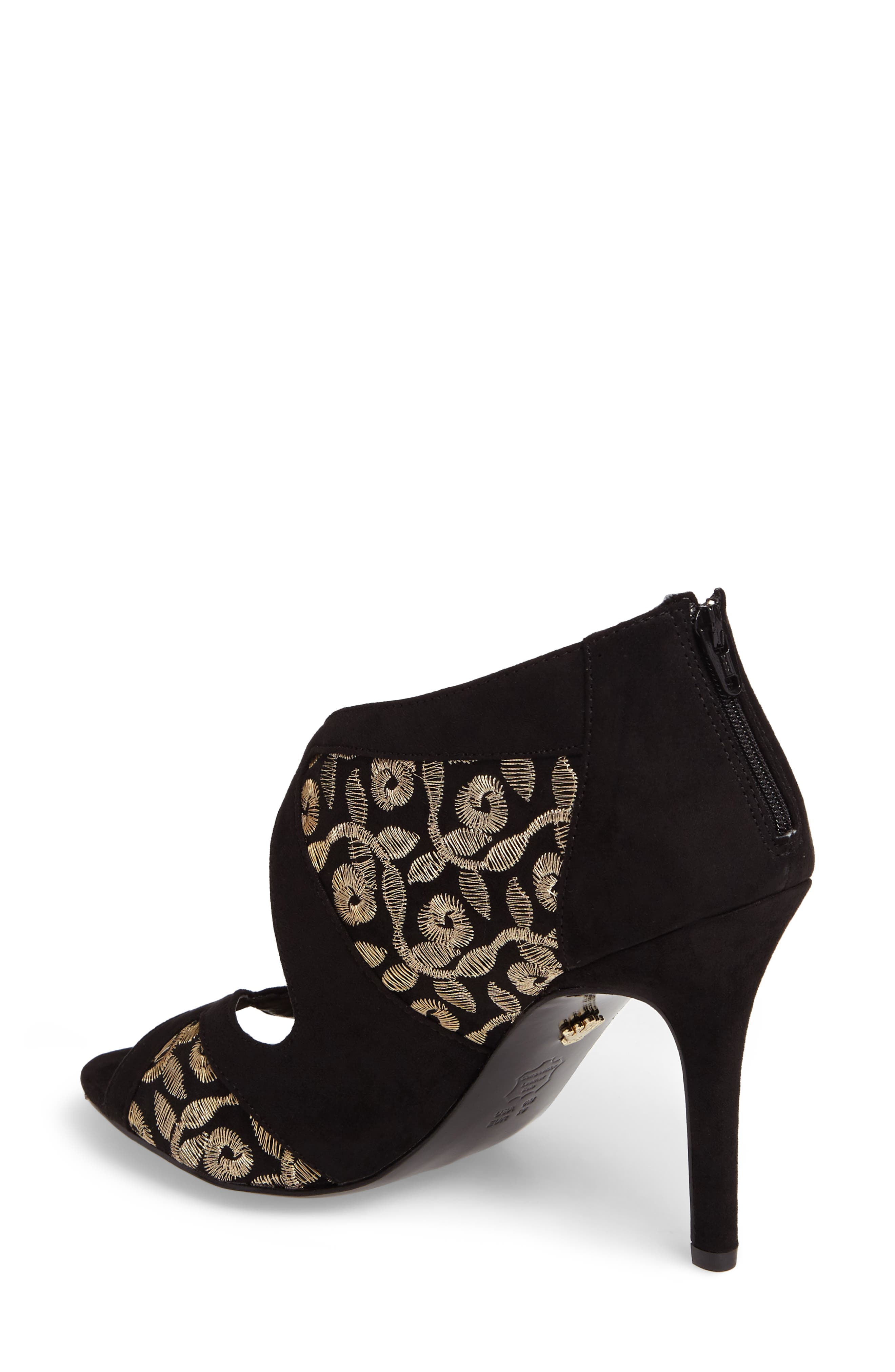 Cordella Open Toe Pump,                             Alternate thumbnail 2, color,                             Black/ Gold Embroidery Fabric