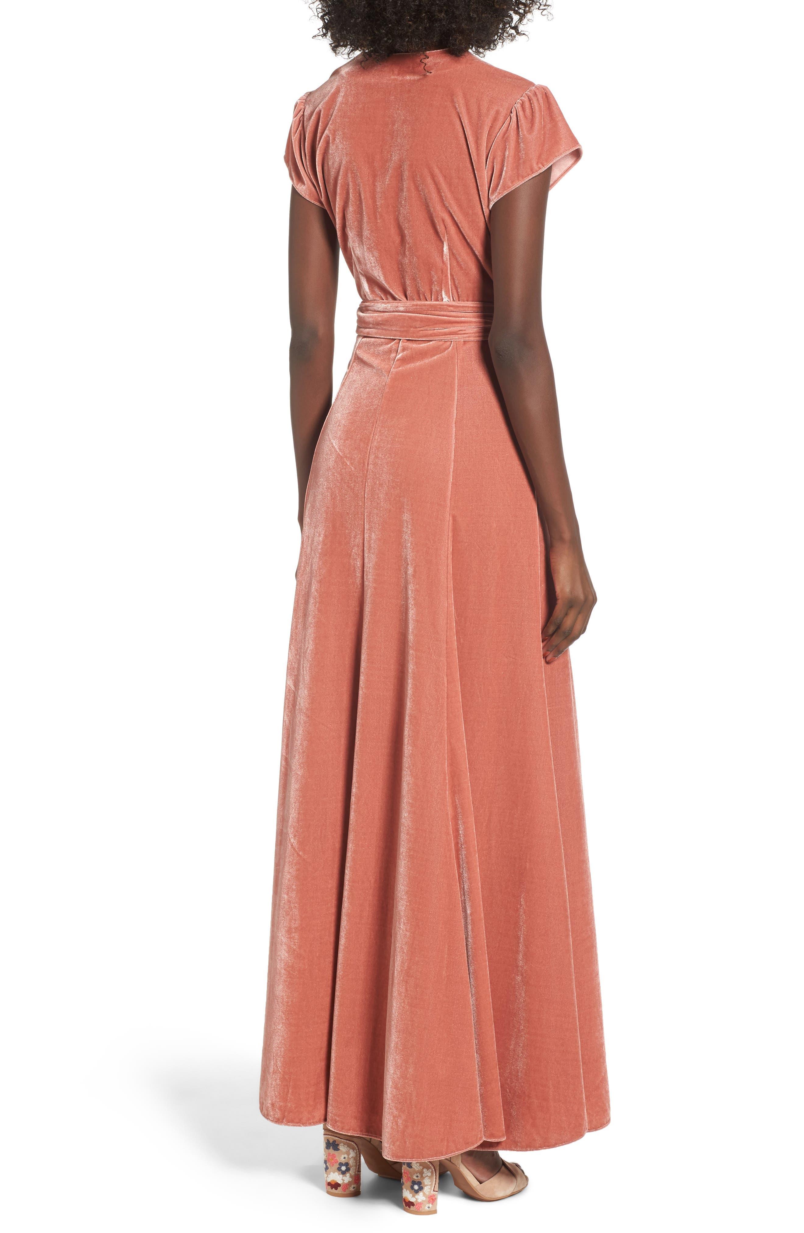 Sid Velvet Wrap Maxi Dress,                             Alternate thumbnail 2, color,                             Wild Rose