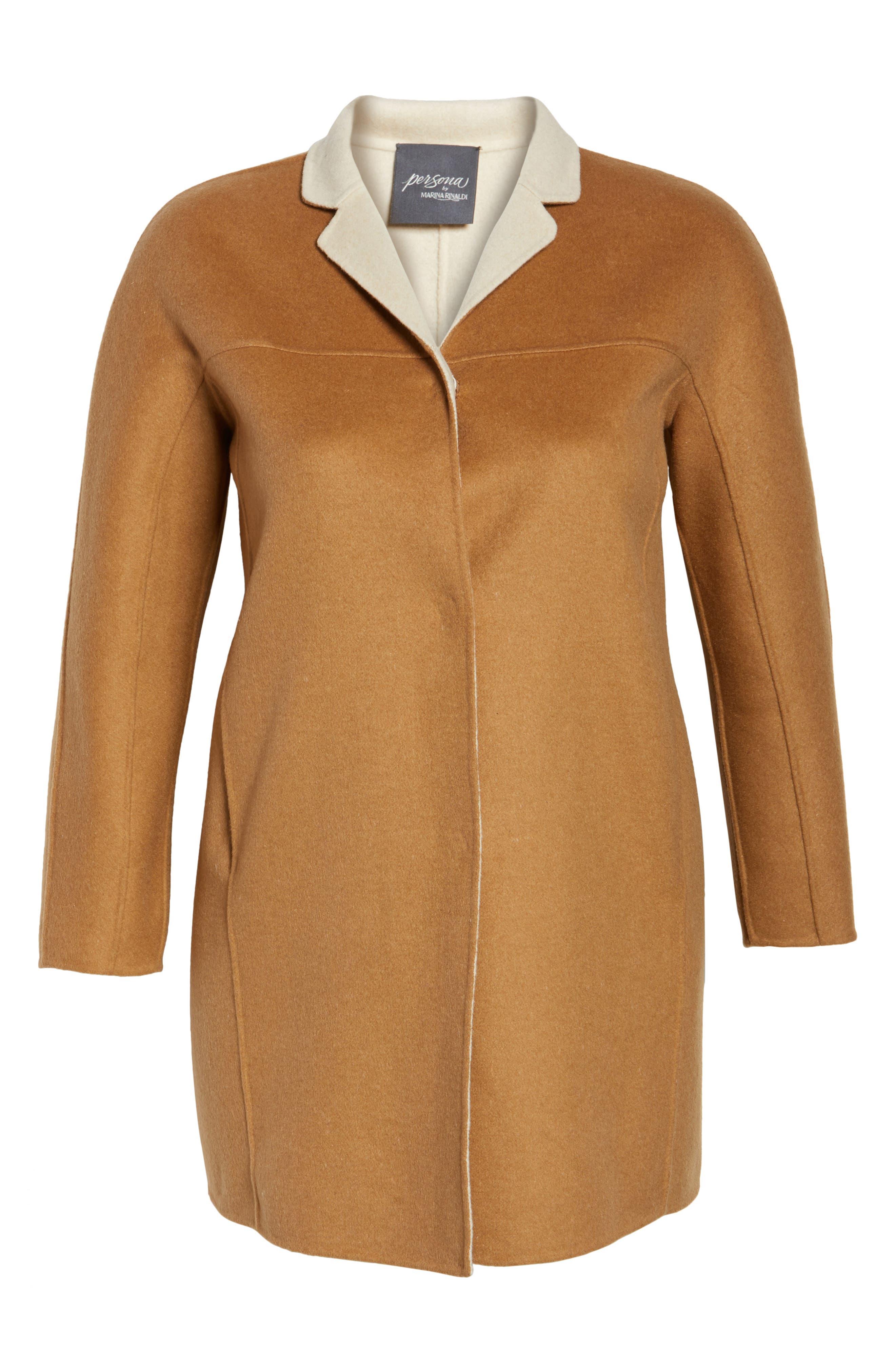 Nina Double Face Wool Blend Coat,                             Alternate thumbnail 6, color,                             Hazelnut
