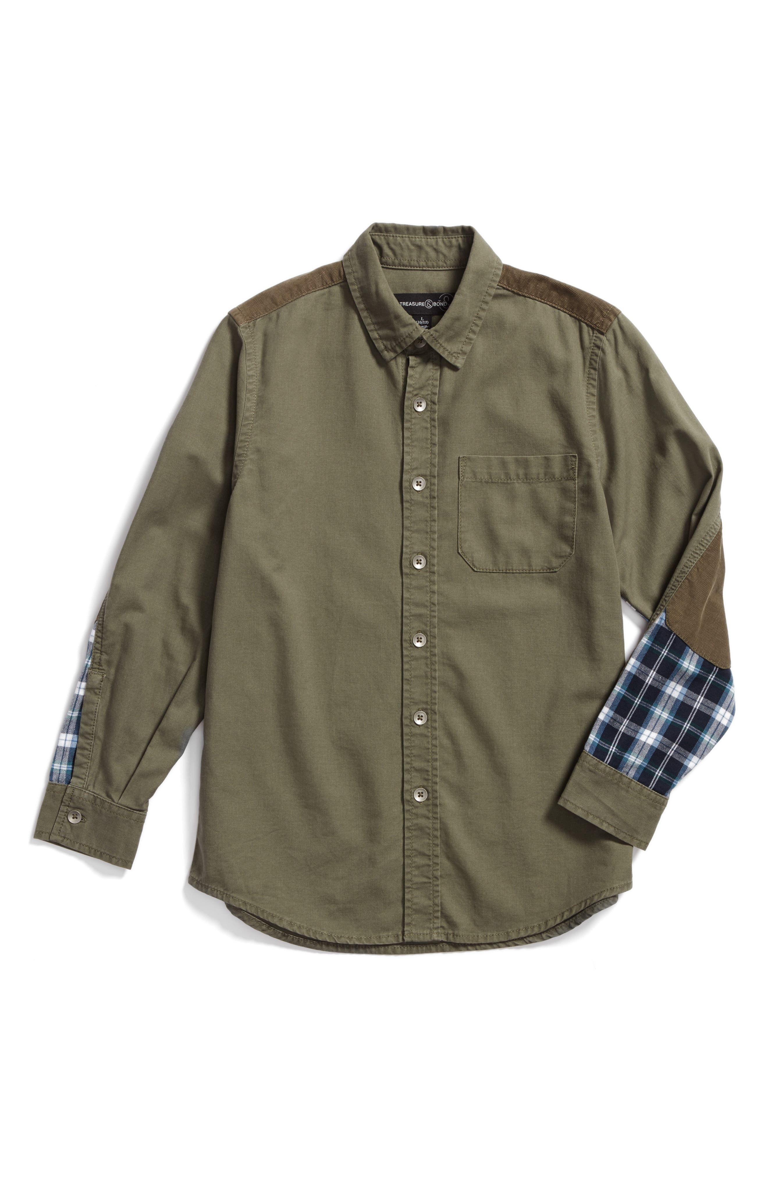 Mixed Media Woven Shirt,                             Main thumbnail 1, color,                             Olive Grove
