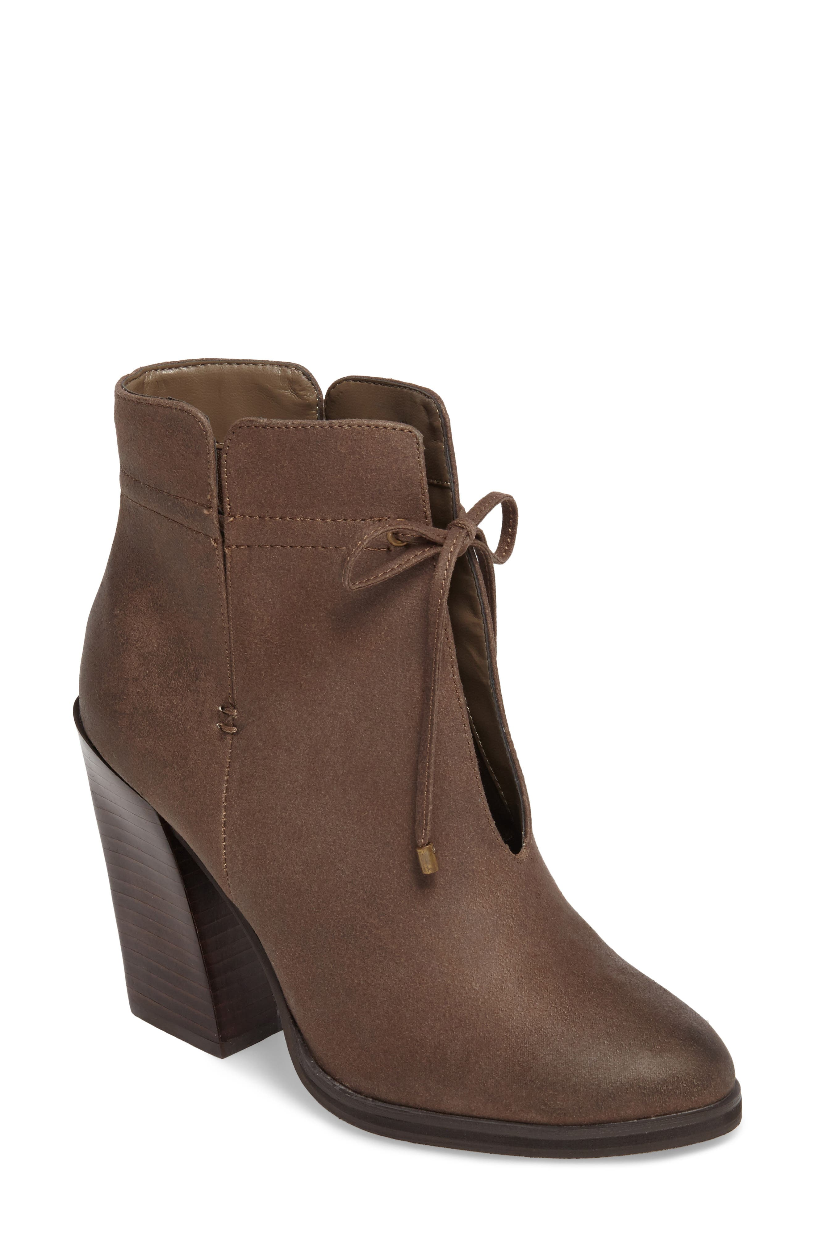 Chick Flick Bootie,                             Main thumbnail 1, color,                             Taupe Faux Leather