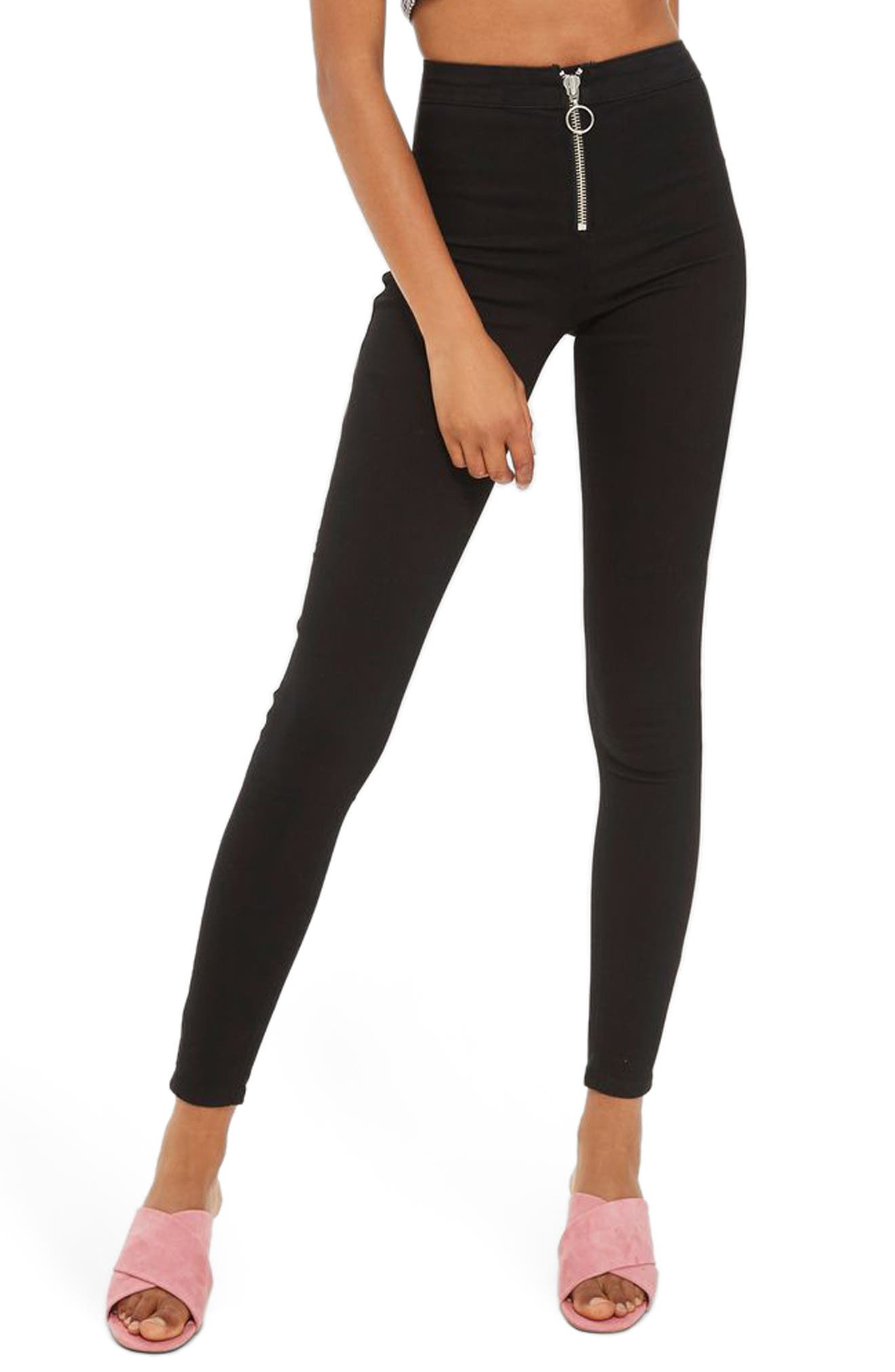 Joni High Rise Zip Front Super Skinny Jeans,                         Main,                         color, Black