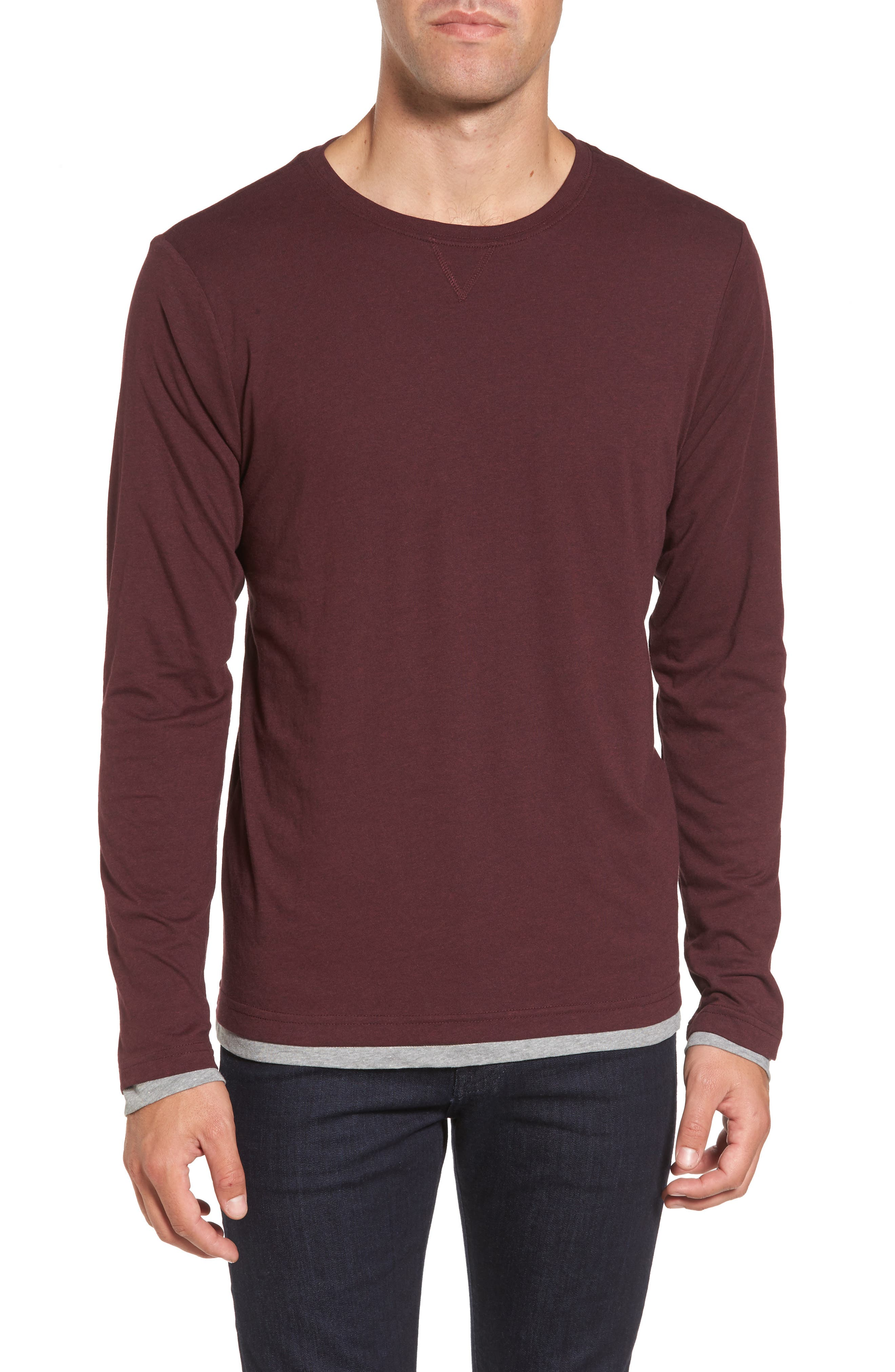 Reversible T-Shirt,                         Main,                         color, Raspberry Fudge/ Medium Grey
