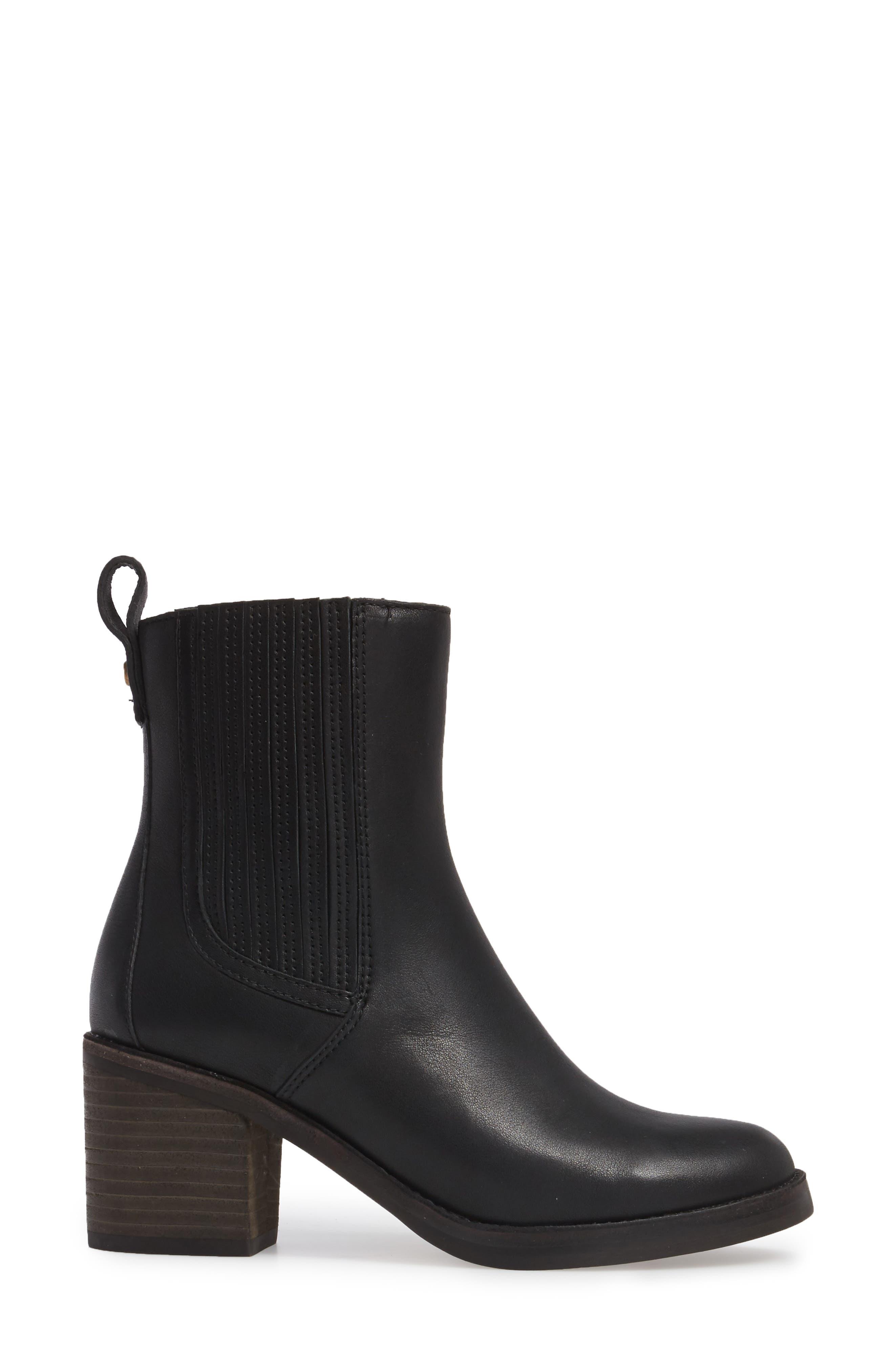 Camden Chelsea Boot,                             Alternate thumbnail 3, color,                             Black Leather