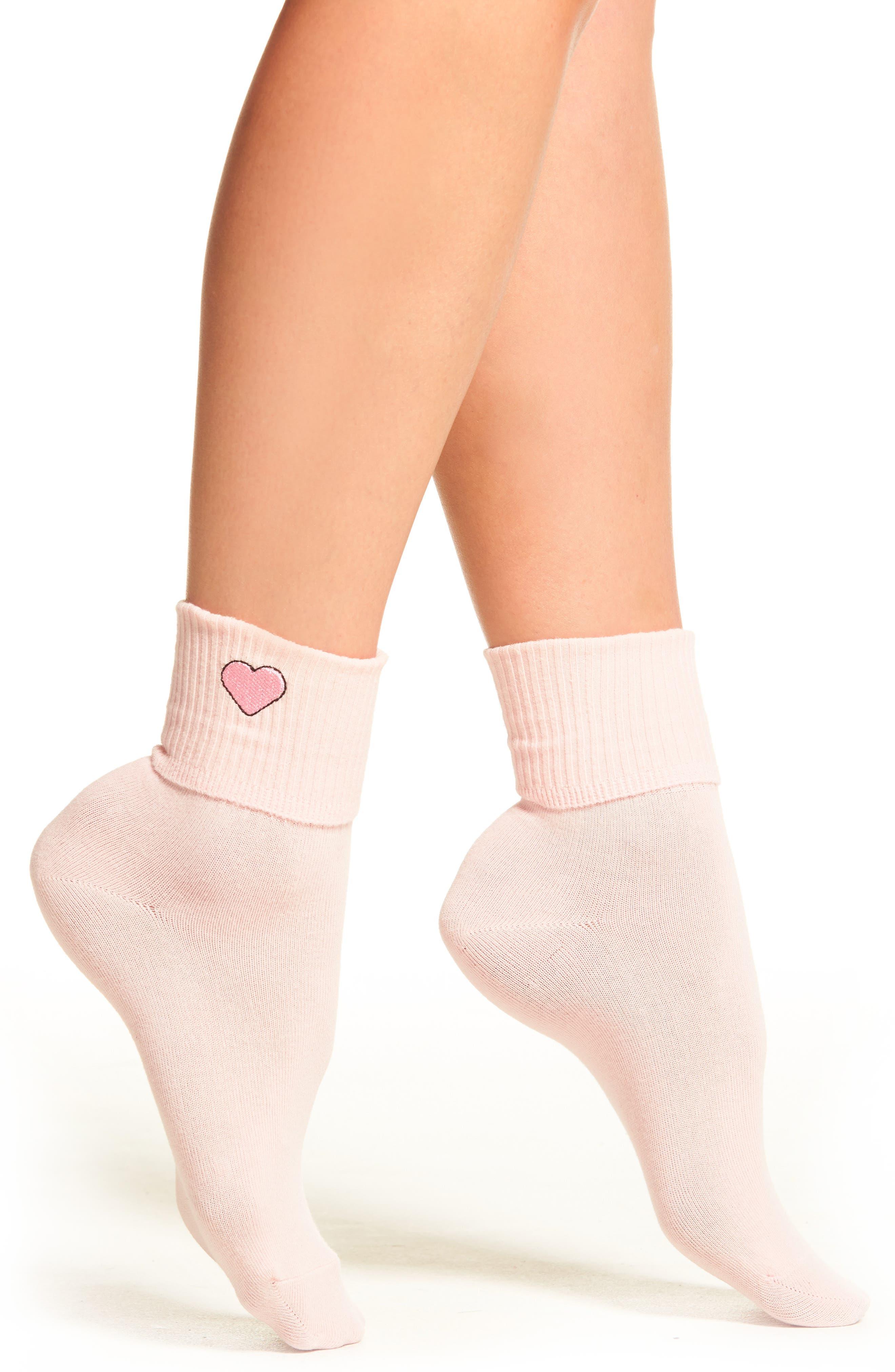 Heart Socks,                         Main,                         color, Pink