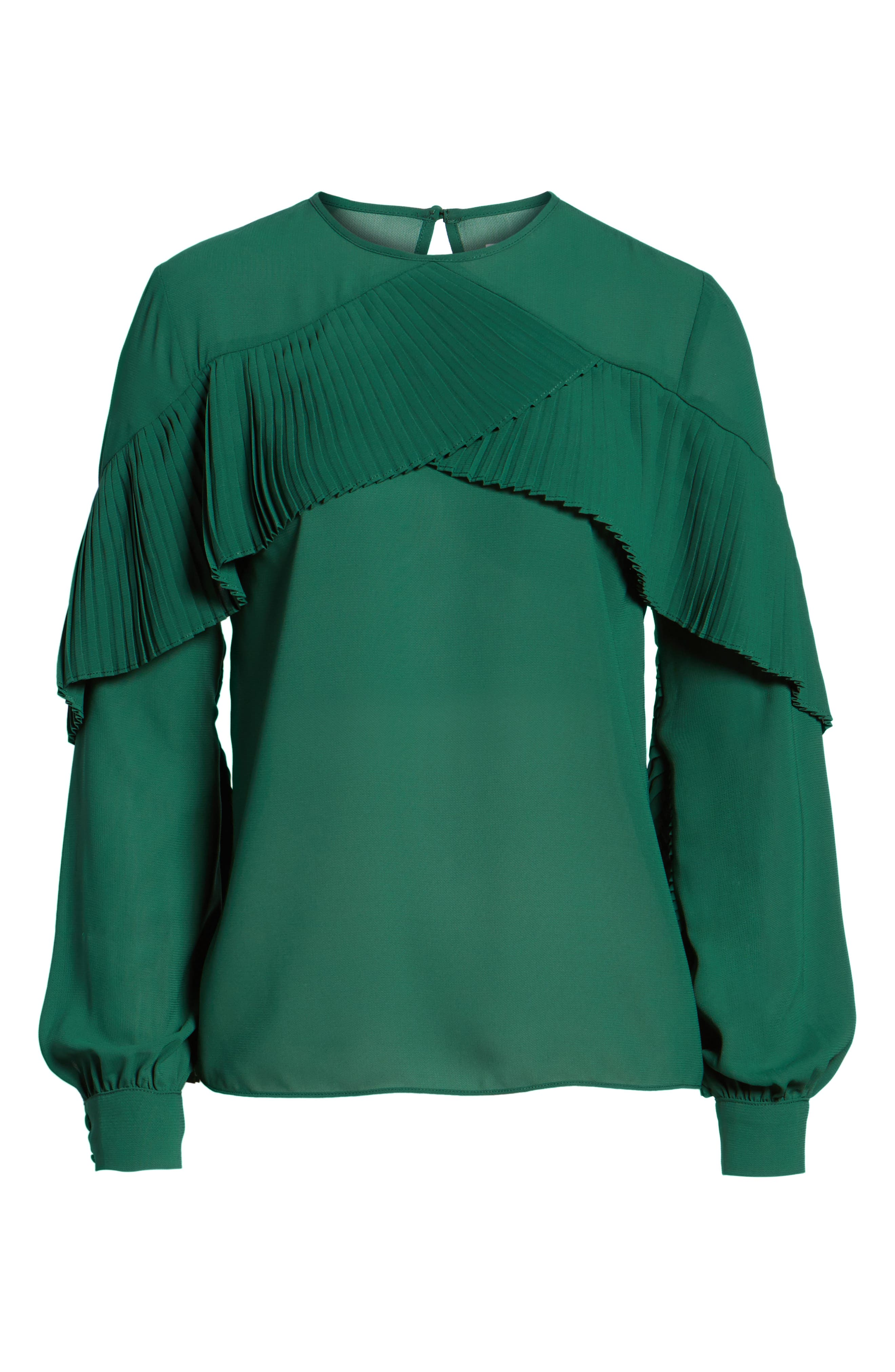 Pleated Ruffle Top,                             Alternate thumbnail 6, color,                             Green Evergreen