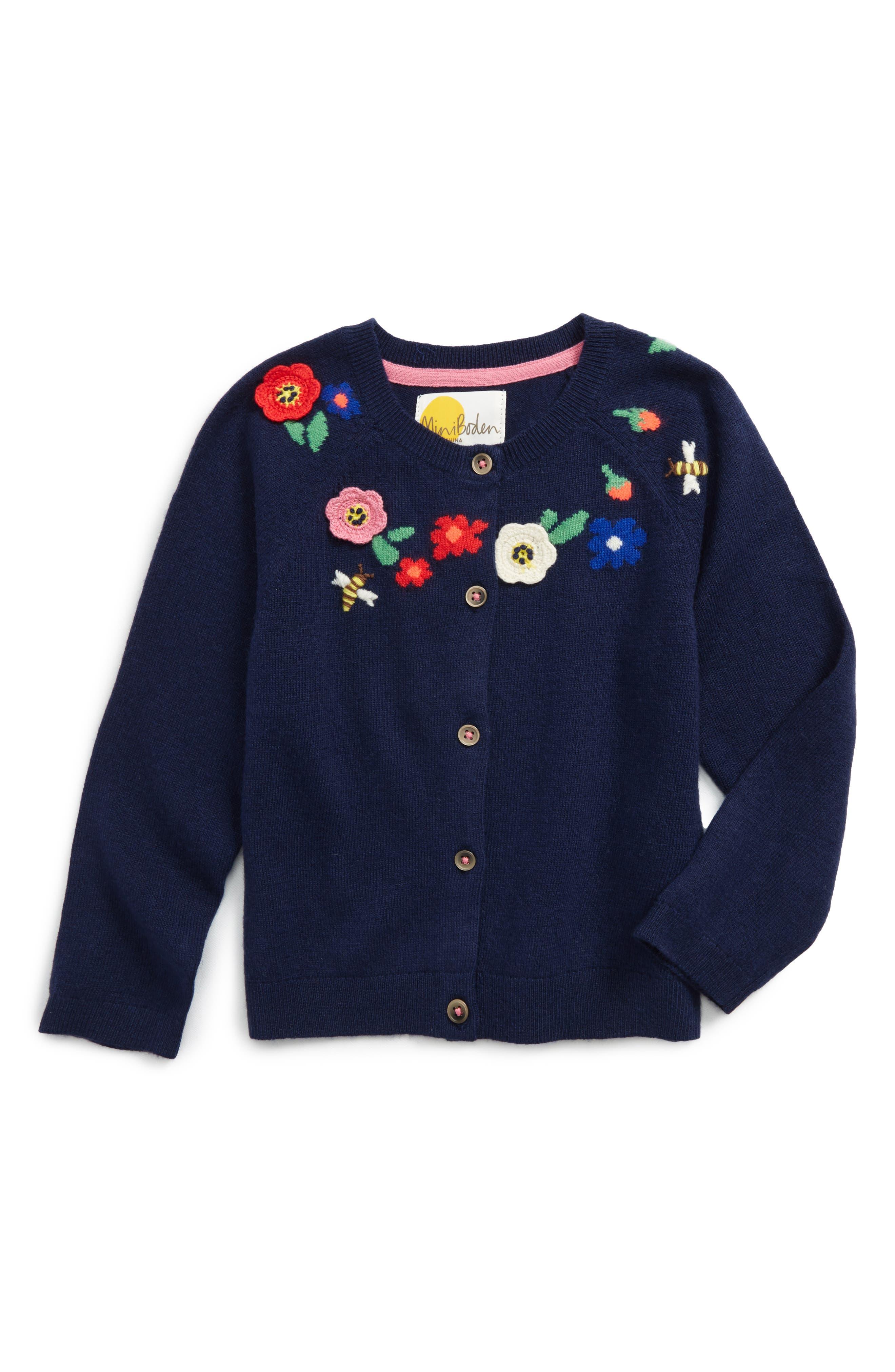 Alternate Image 1 Selected - Mini Boden Pretty Yoke Cardigan (Toddler Girls, Little Girls & Big Girls)