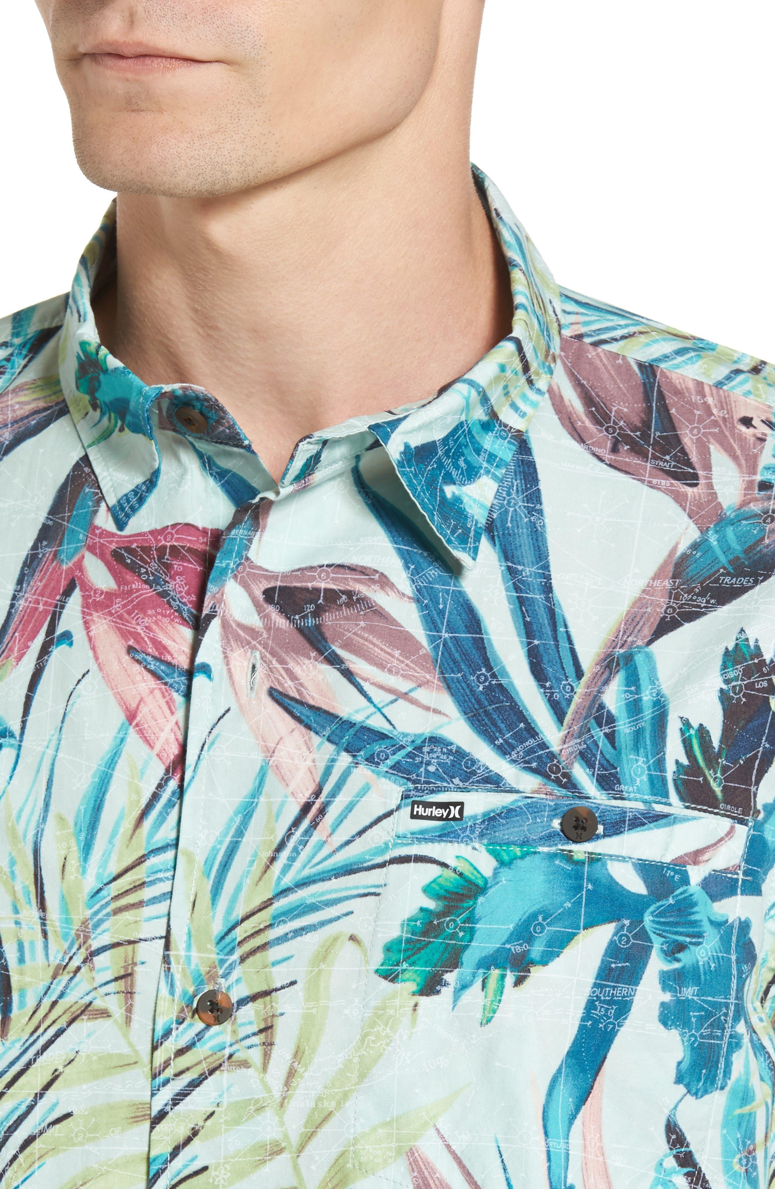 Maps Woven Shirt,                             Alternate thumbnail 4, color,                             Multi Black