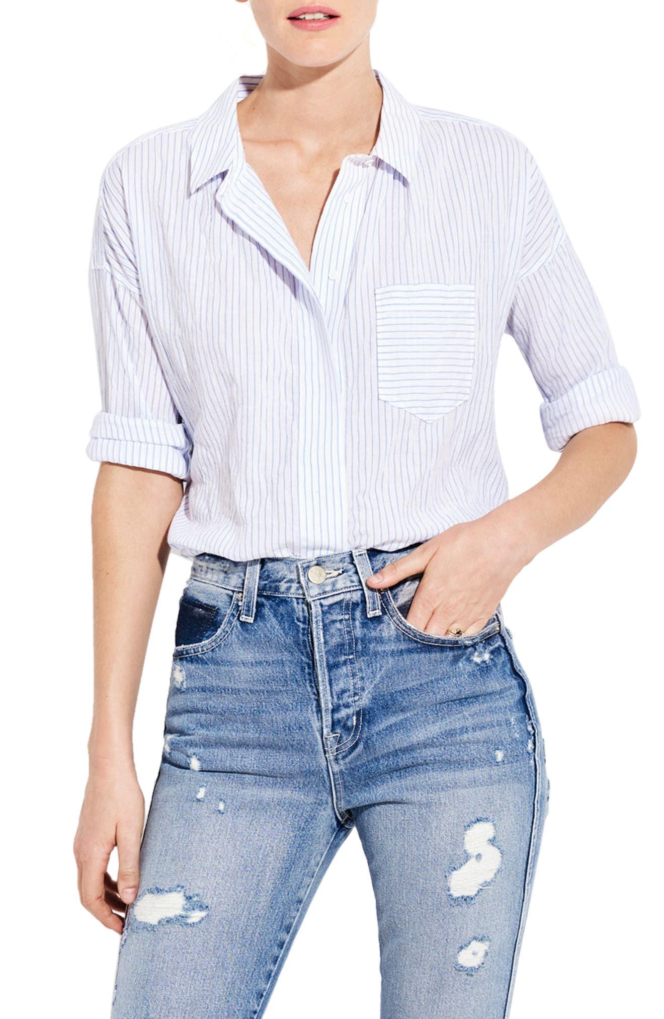 The Biz Stripe Shirt,                         Main,                         color, White/ Blue