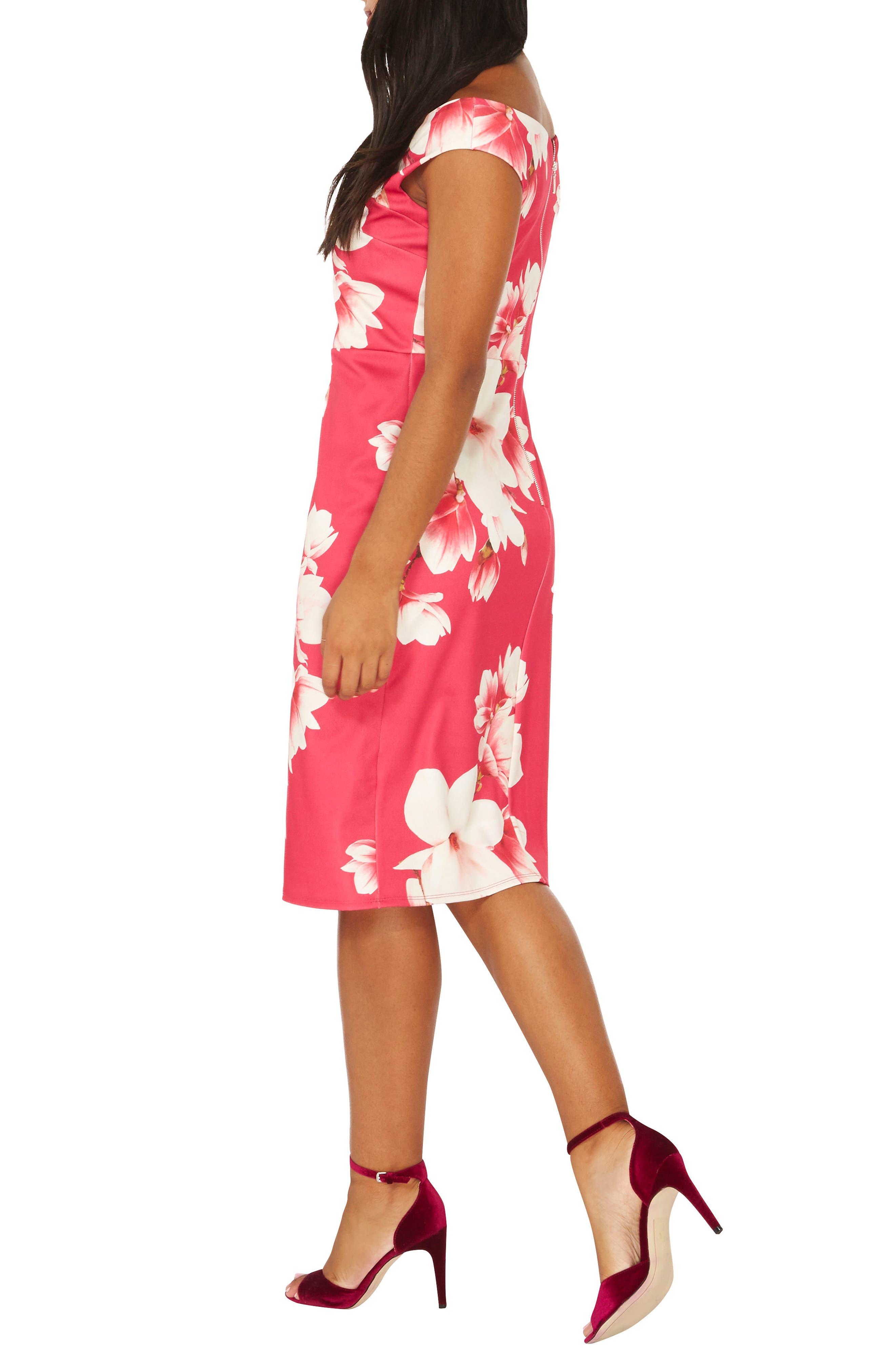 Bardot Sheath Dress,                             Alternate thumbnail 2, color,                             Pink Floral