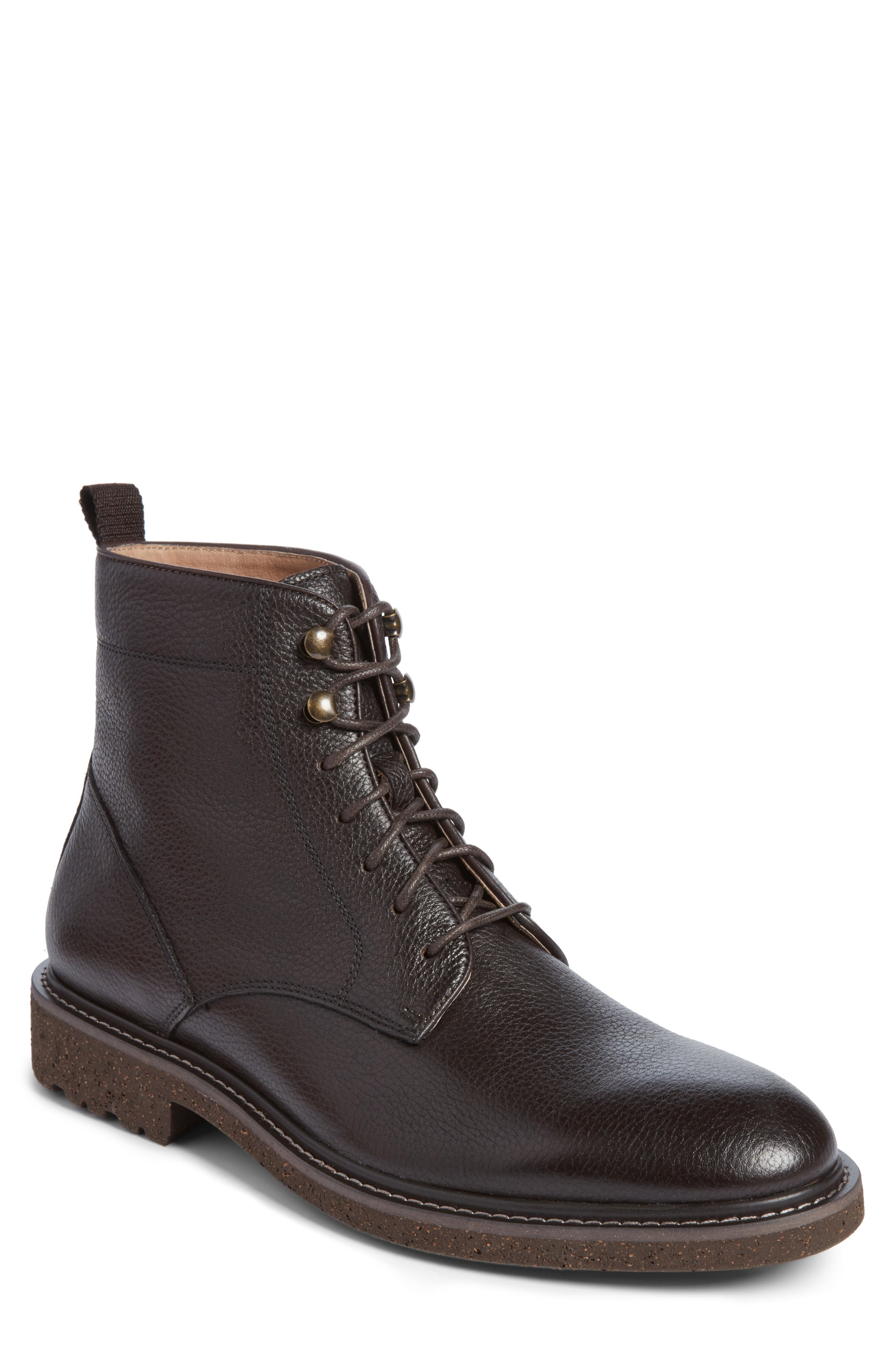 Trenton Plain Toe Boot,                         Main,                         color, Chocolate Leather