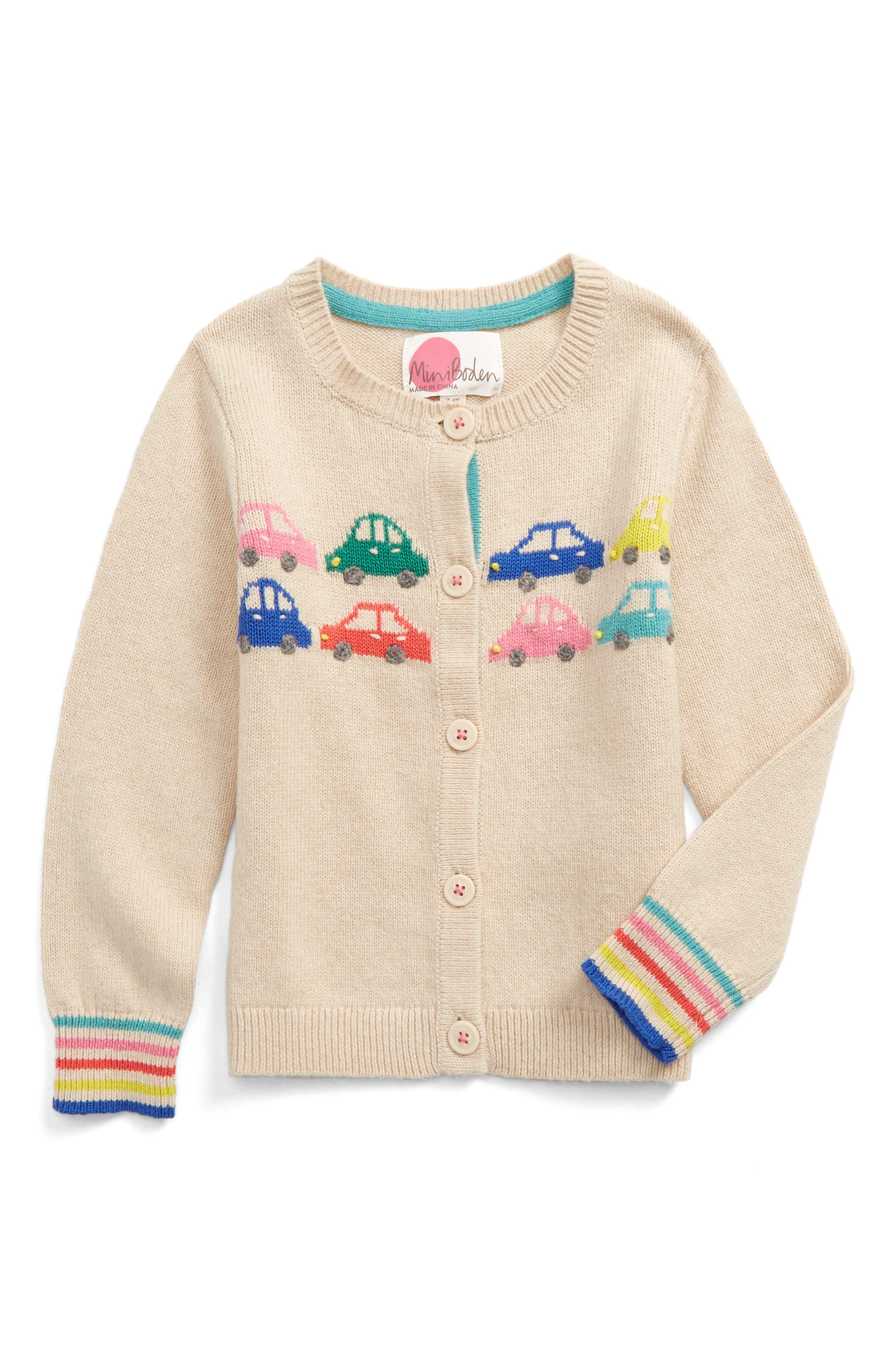 Alternate Image 1 Selected - Mini Boden Fun Cardigan (Toddler Girls, Little Girls & Big Girls)