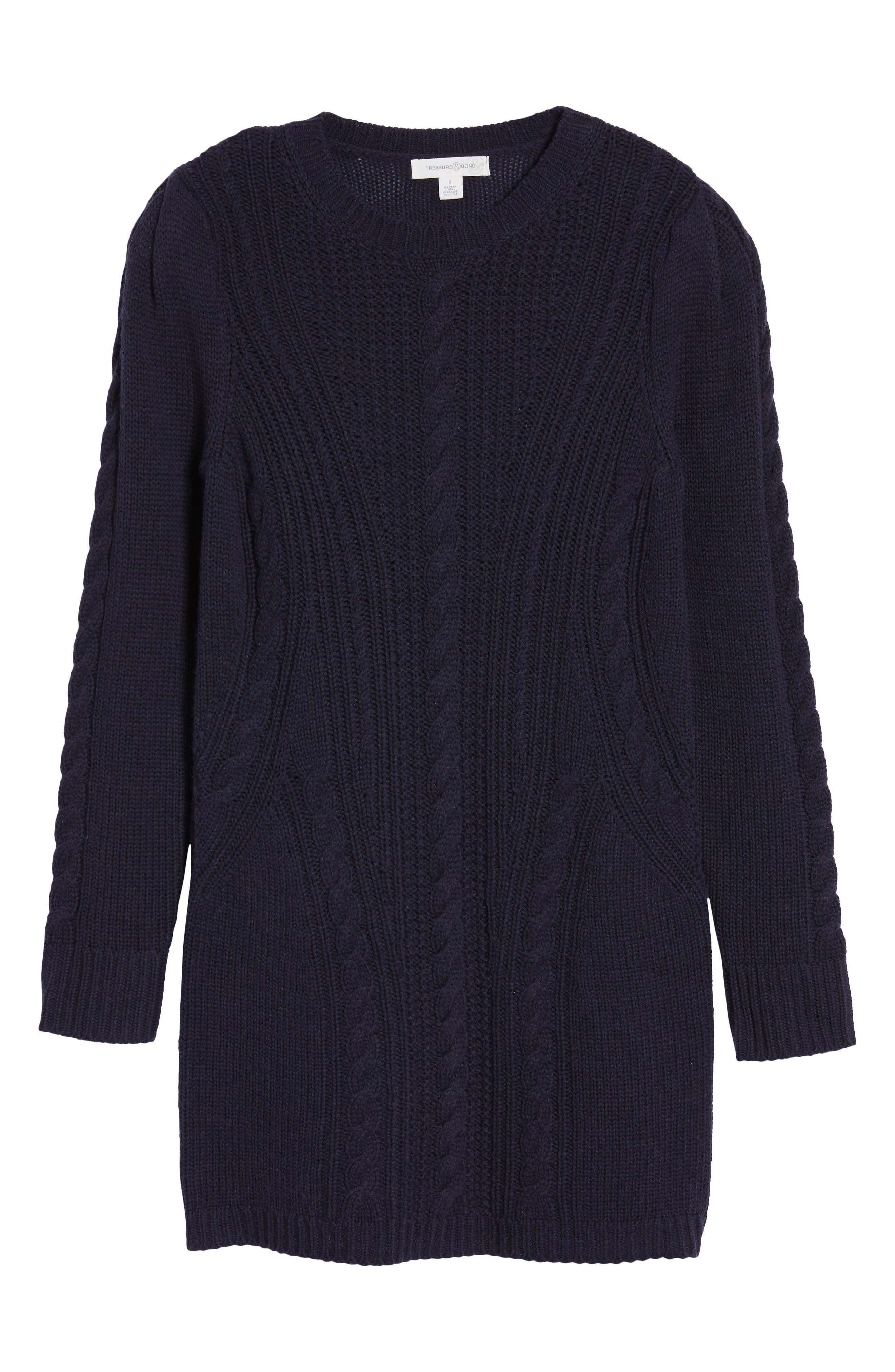 x Something Navy Sweater Dress,                             Alternate thumbnail 7, color,                             Navy Night