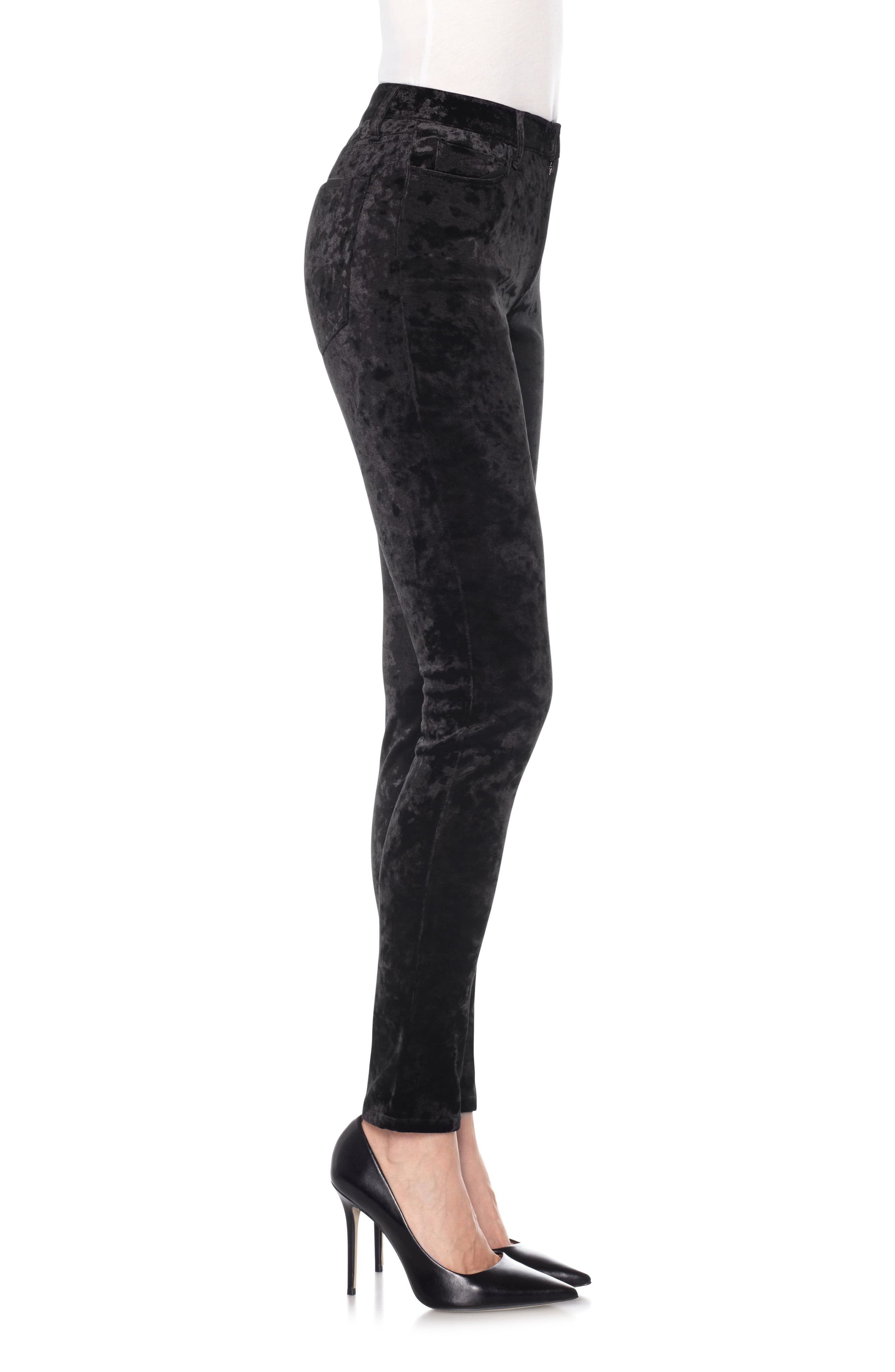 Charlie High Waist Ankle Skinny Velvet Pants,                             Alternate thumbnail 3, color,                             Black