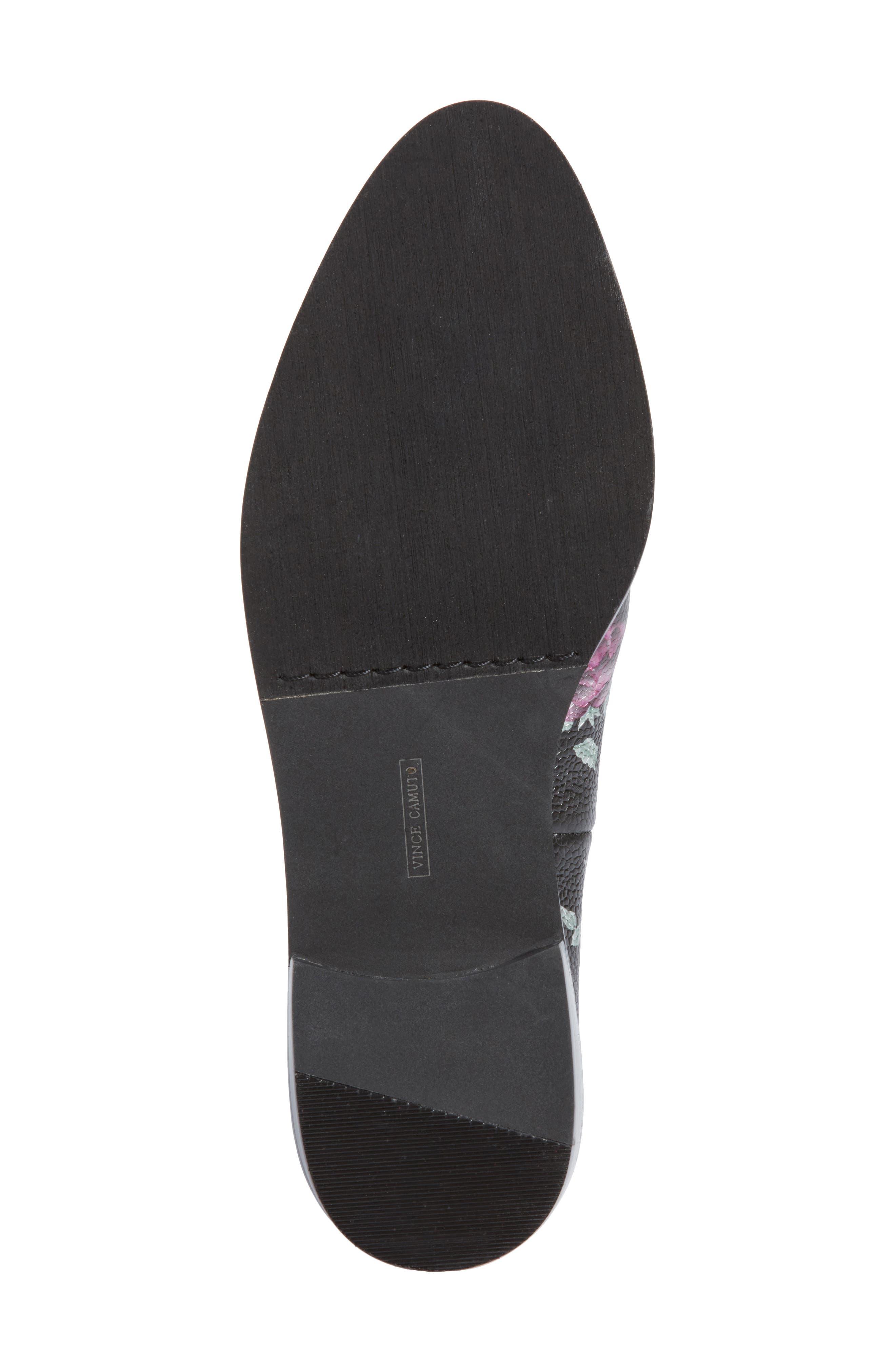 Geralin Tassel Loafer,                             Alternate thumbnail 6, color,                             Black Floral Print Leather