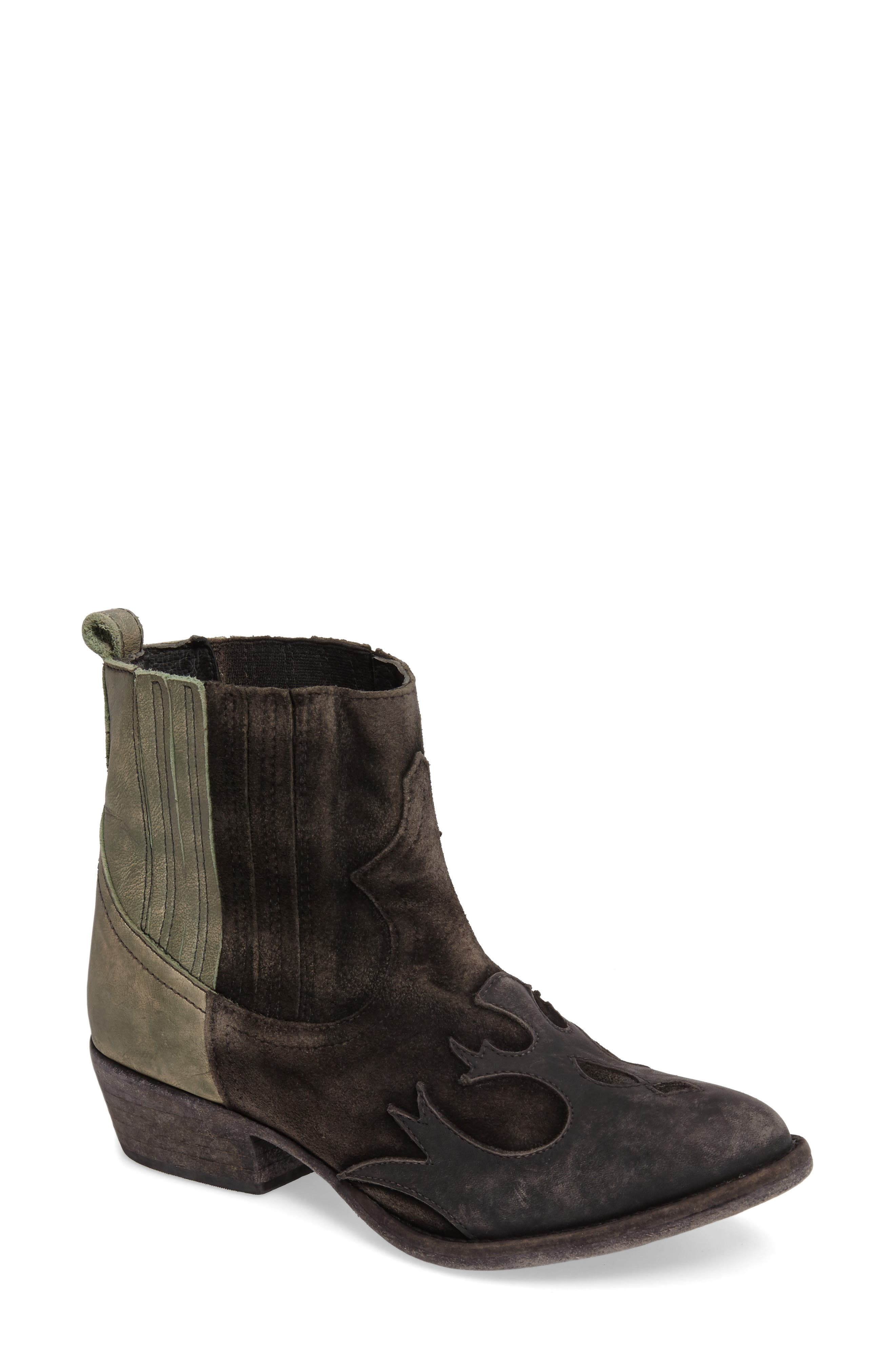 Royston Bootie,                             Main thumbnail 1, color,                             Black Leather