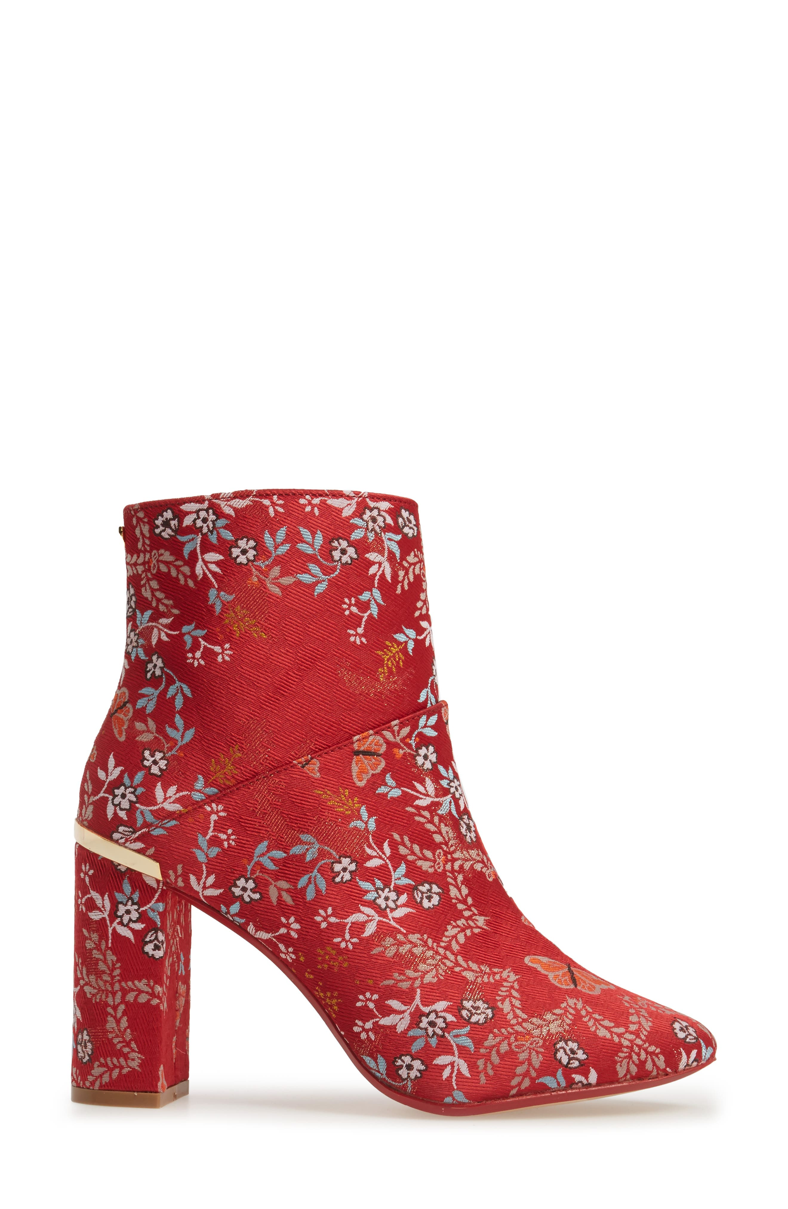 Ishbel Brocade Bootie,                             Alternate thumbnail 3, color,                             Red Kyoto Print