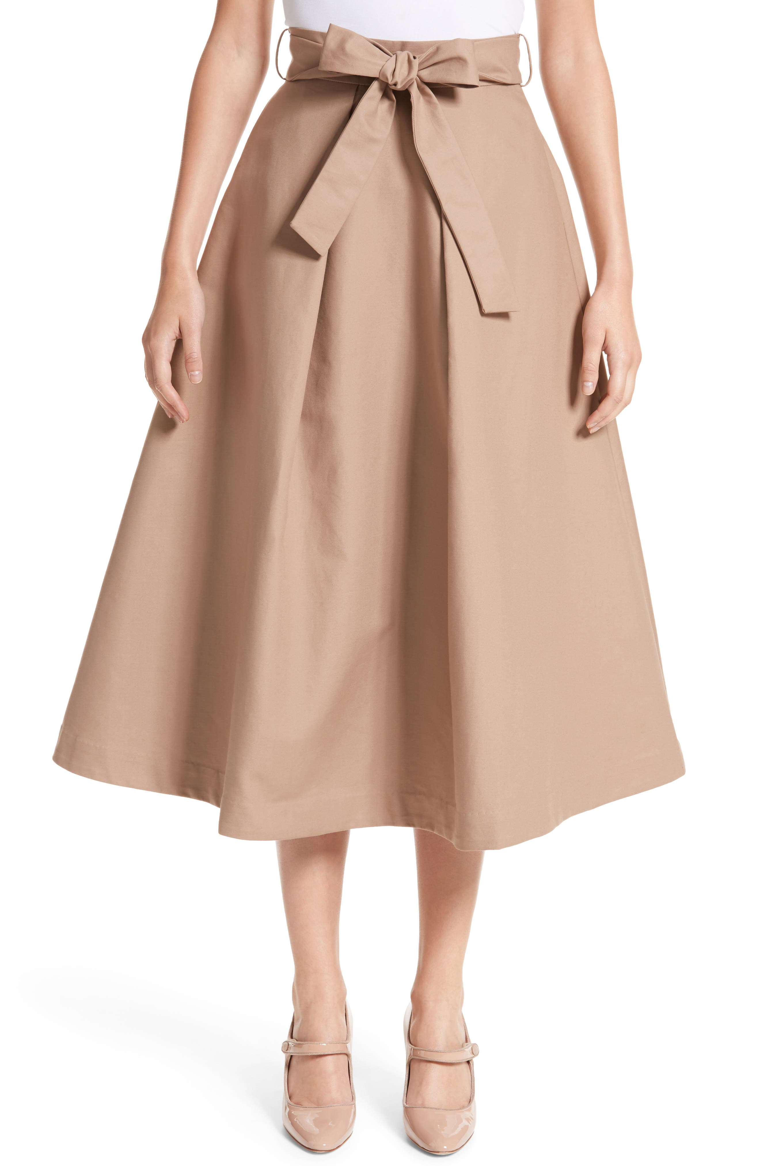 Belted Cotton Skirt,                         Main,                         color, Camel