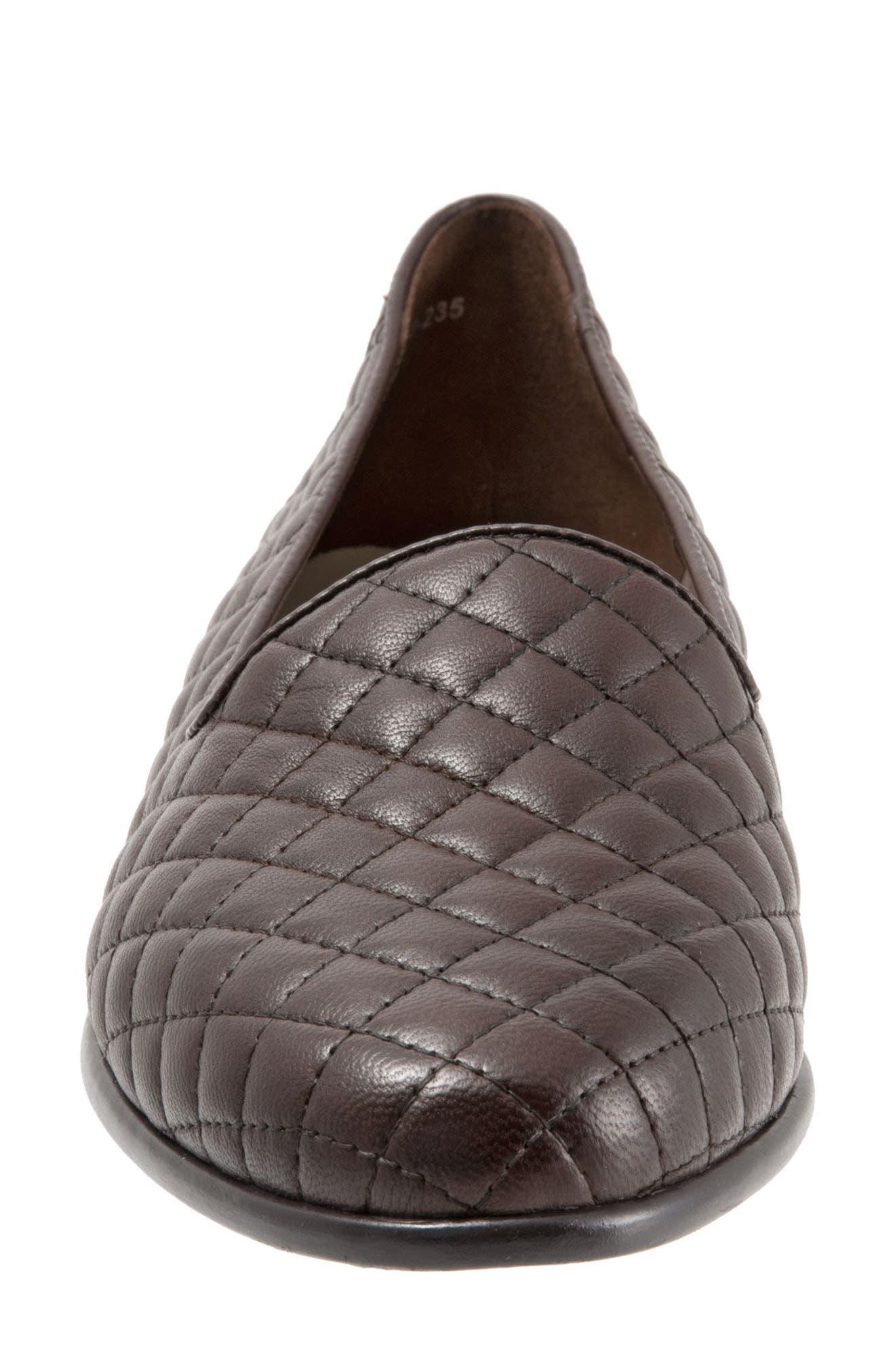Liz Woven Loafer Flat,                             Alternate thumbnail 4, color,                             Dark Brown Leather