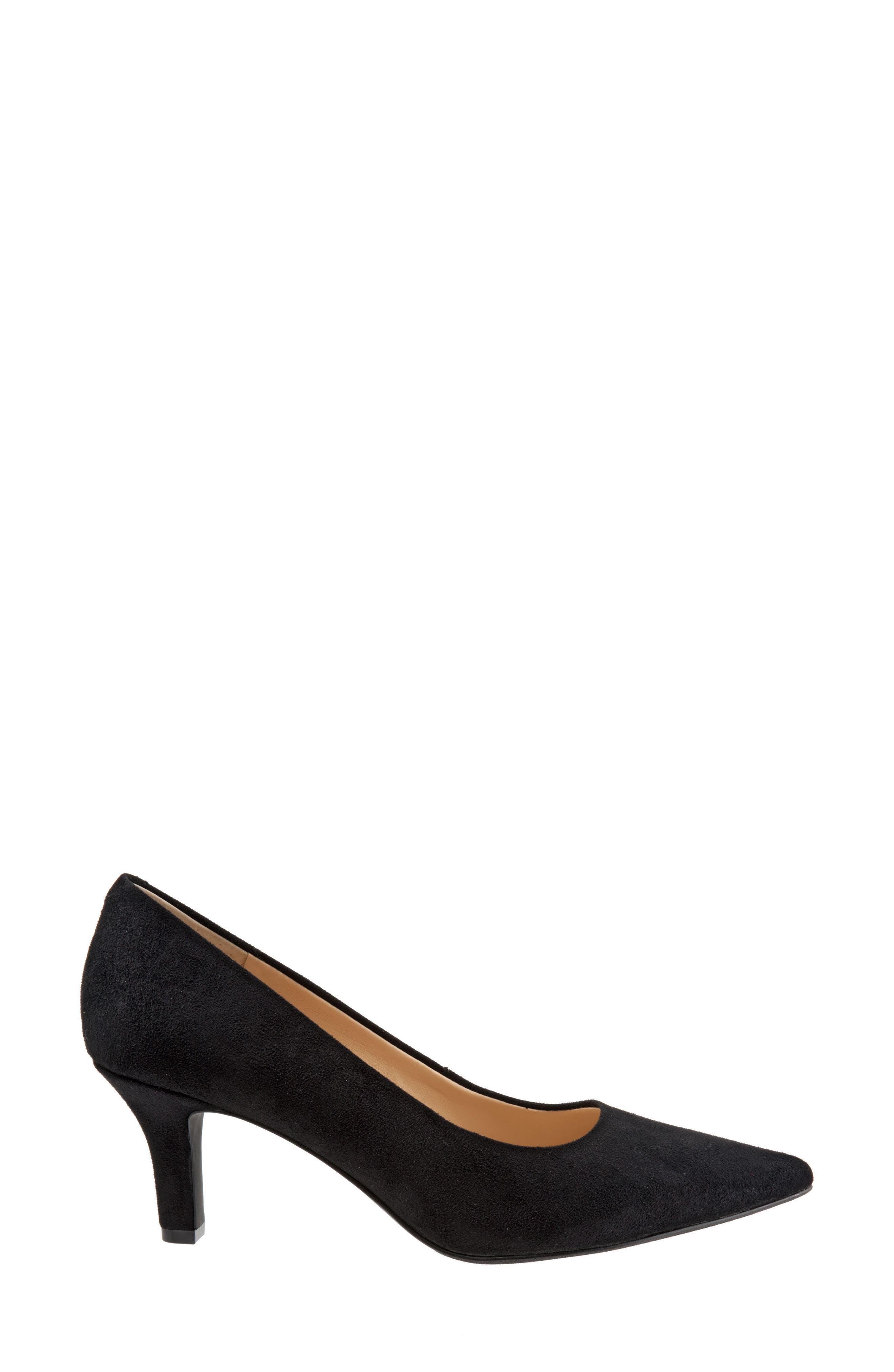 Noelle Pointy Toe Pump,                             Alternate thumbnail 3, color,                             Black Fabric