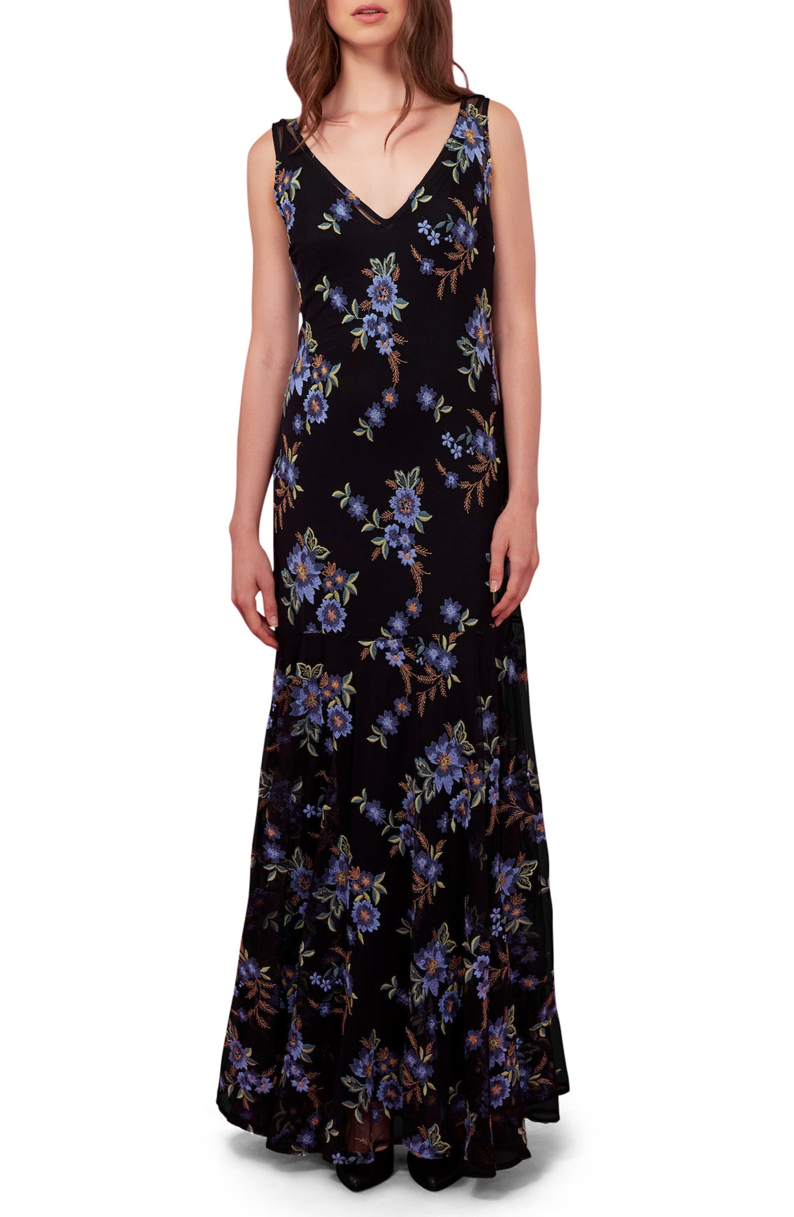 Embroidered Mesh Maxi Dress,                             Main thumbnail 1, color,                             Black/ Multi
