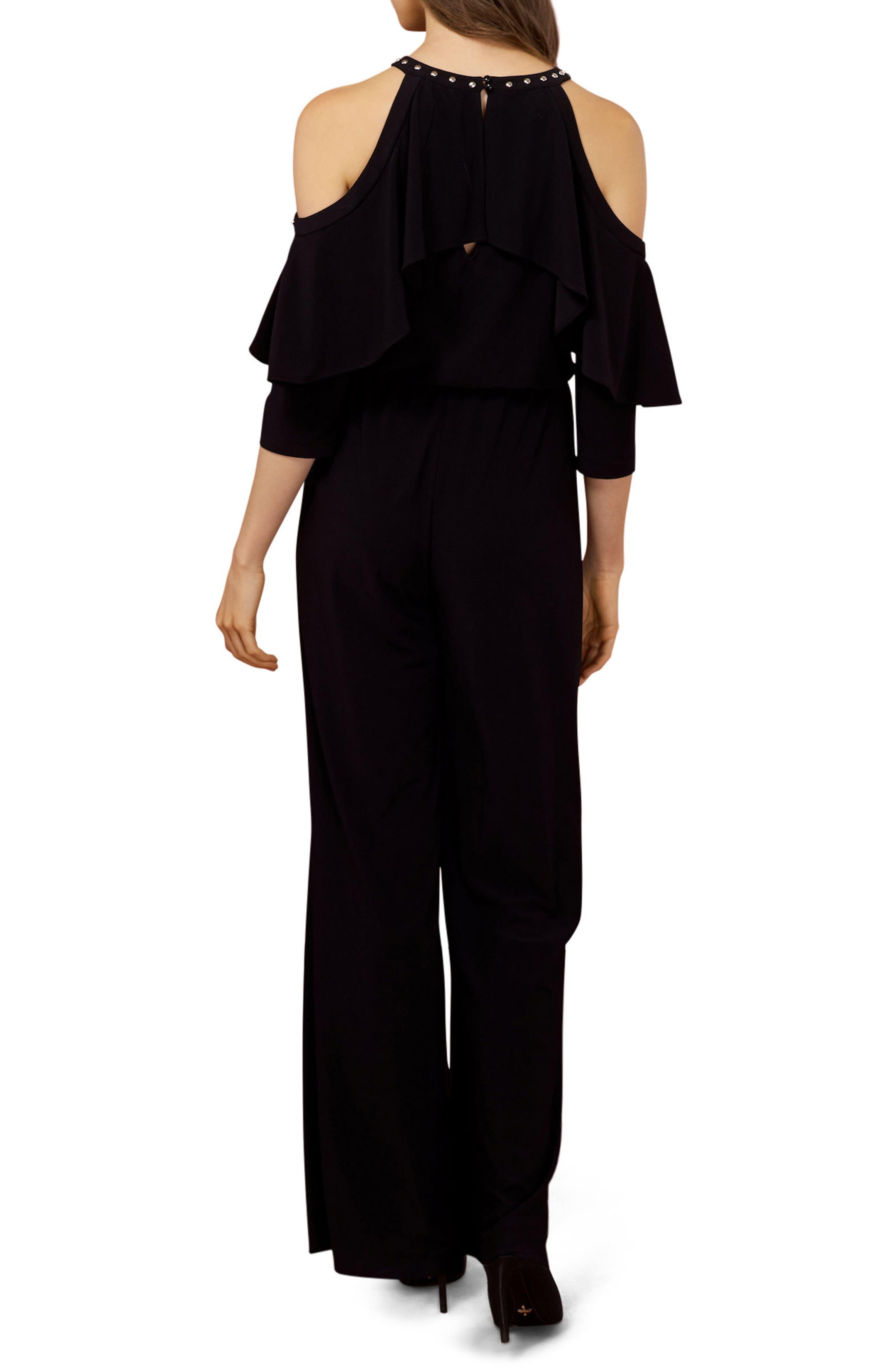 Studded Cold Shoulder Jumpsuit,                             Alternate thumbnail 2, color,                             Black