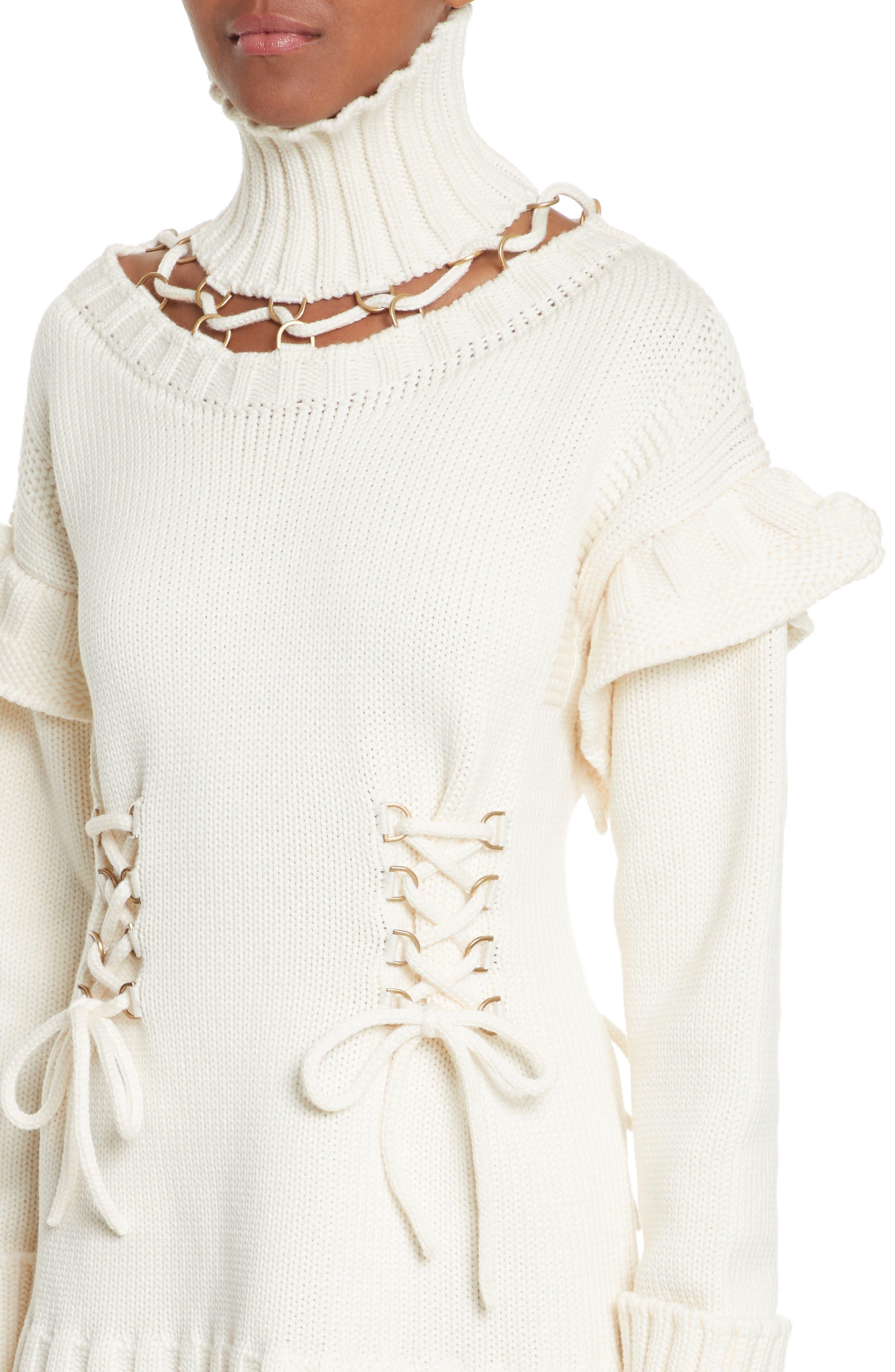 Lace-Up Turtleneck Sweater Dress,                             Alternate thumbnail 4, color,                             Ivory