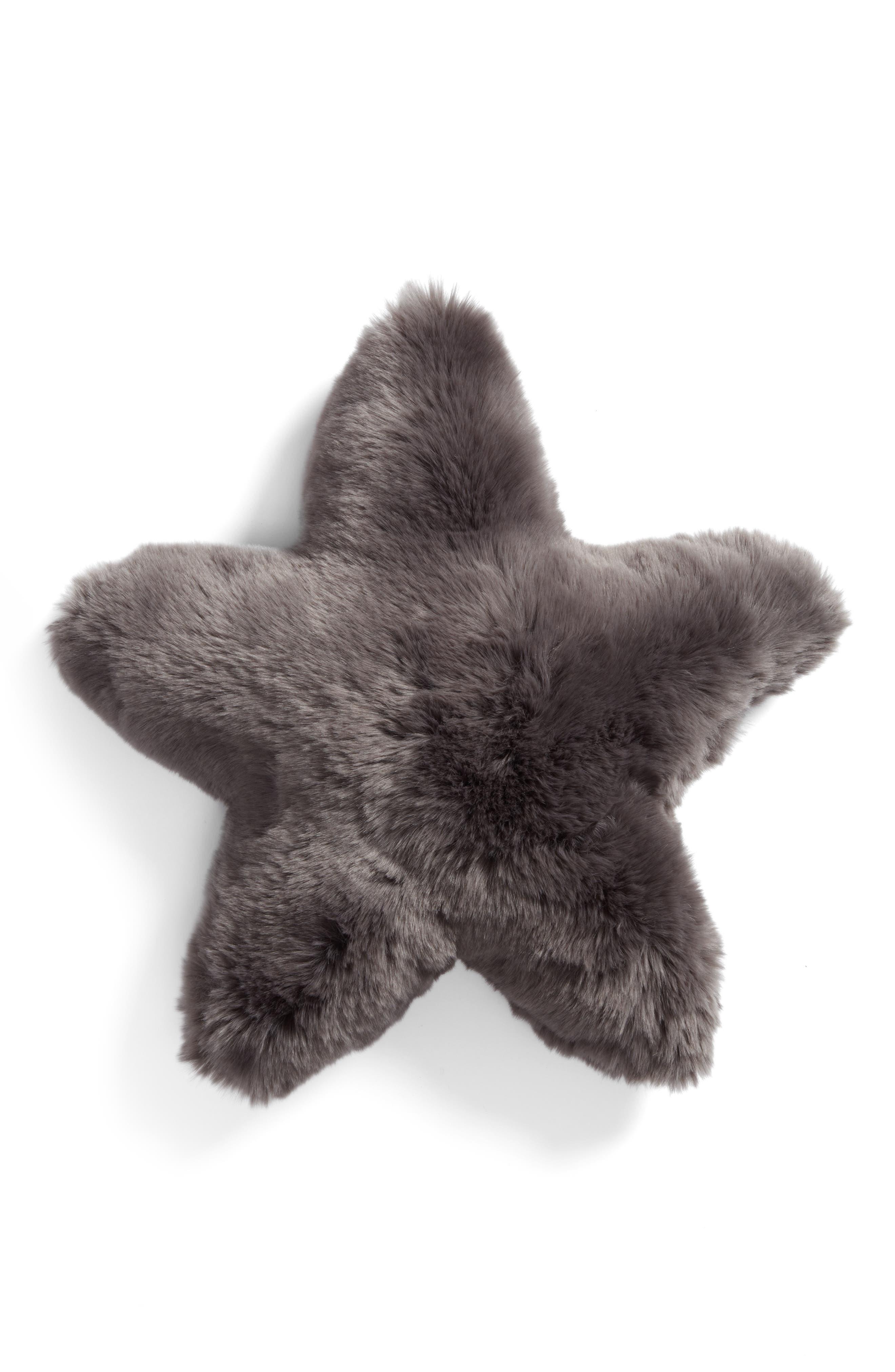 Cuddle Up Faux Fur Star Pillow,                         Main,                         color, Grey Asphalt