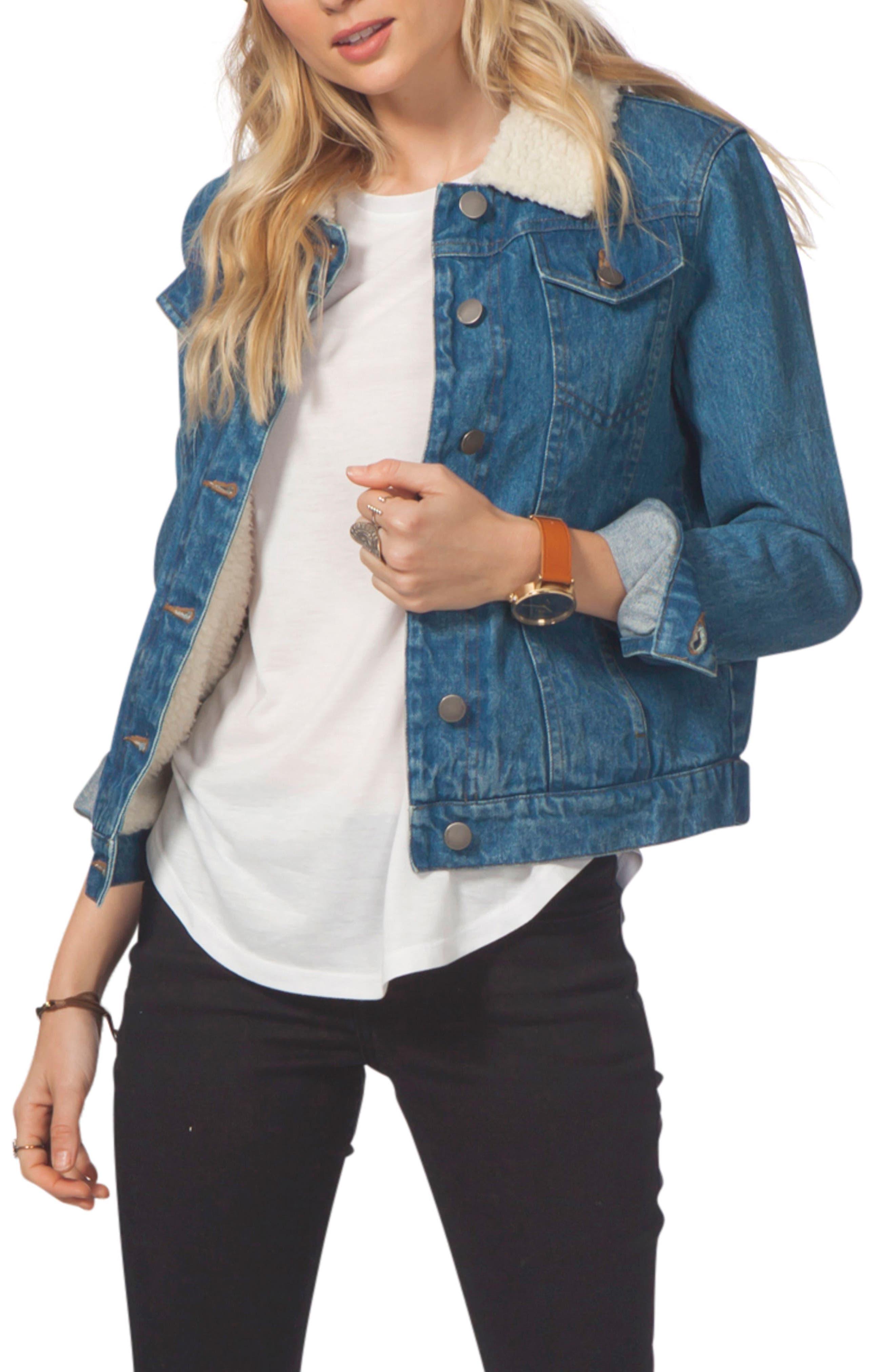 Janis Faux Shearling Trim Denim Jacket,                         Main,                         color, Blue
