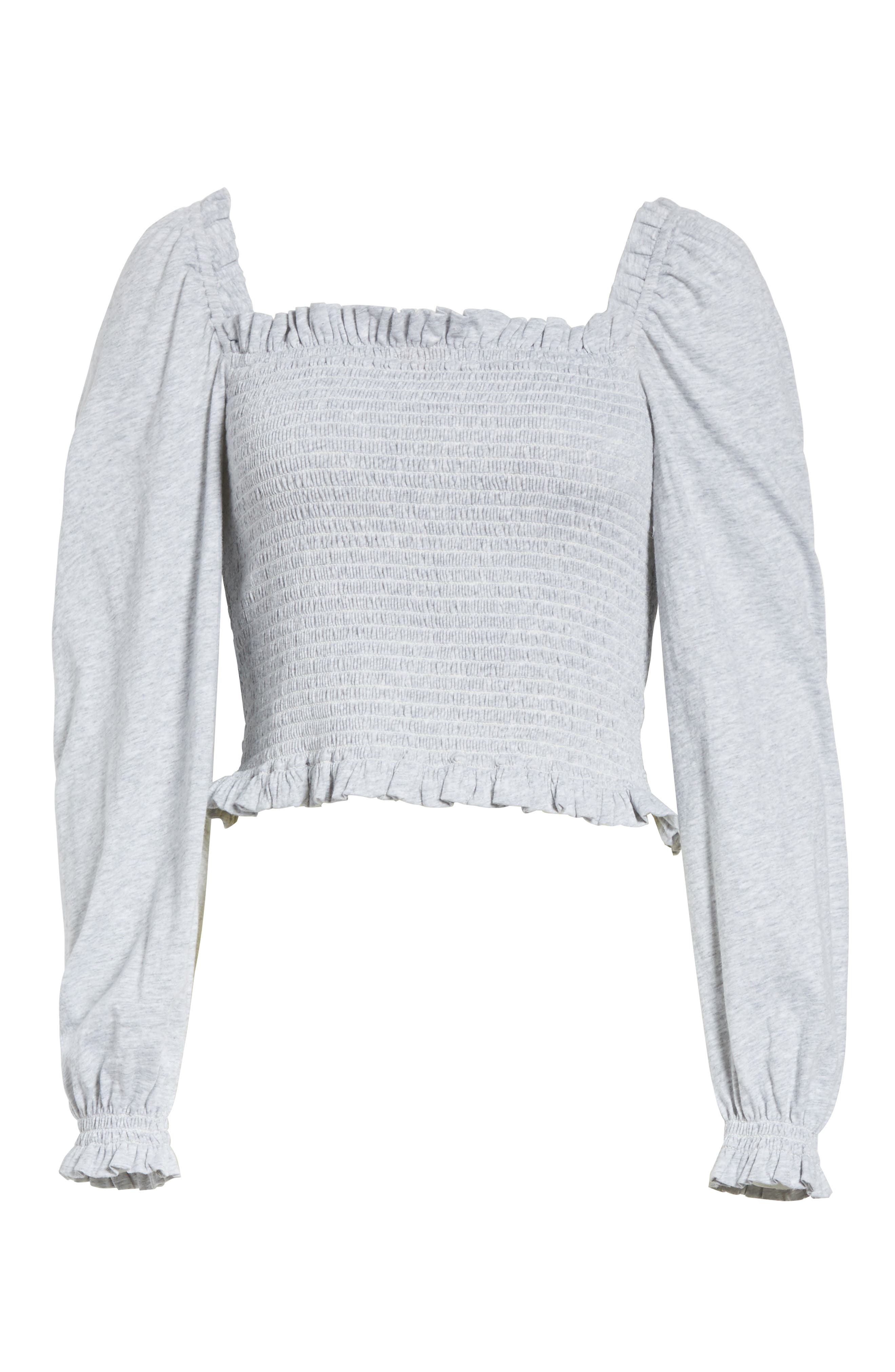 Smocked Crop Jersey Top,                             Alternate thumbnail 6, color,                             Heather Grey