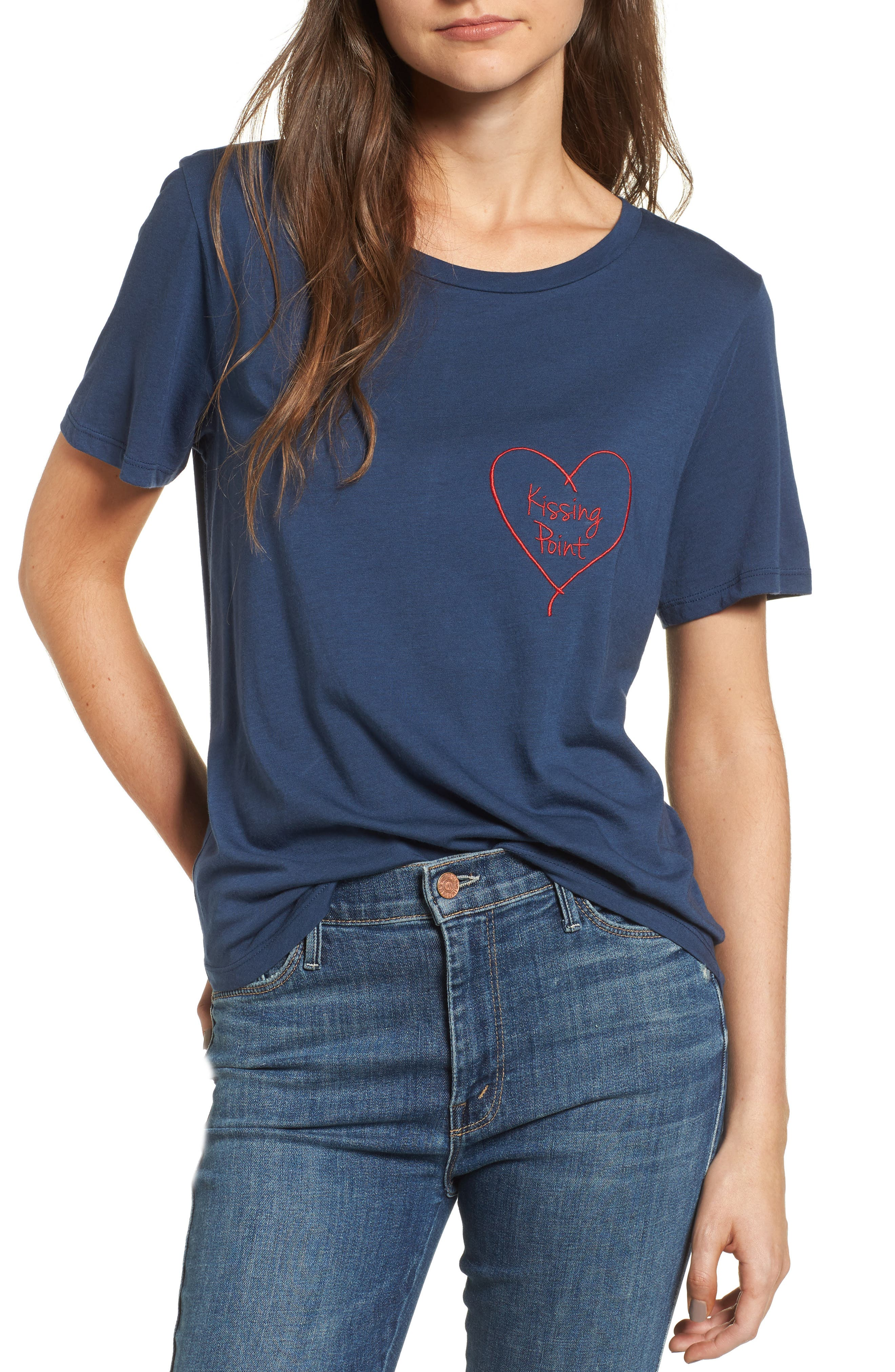 Kissing Point Tee,                         Main,                         color, Navy