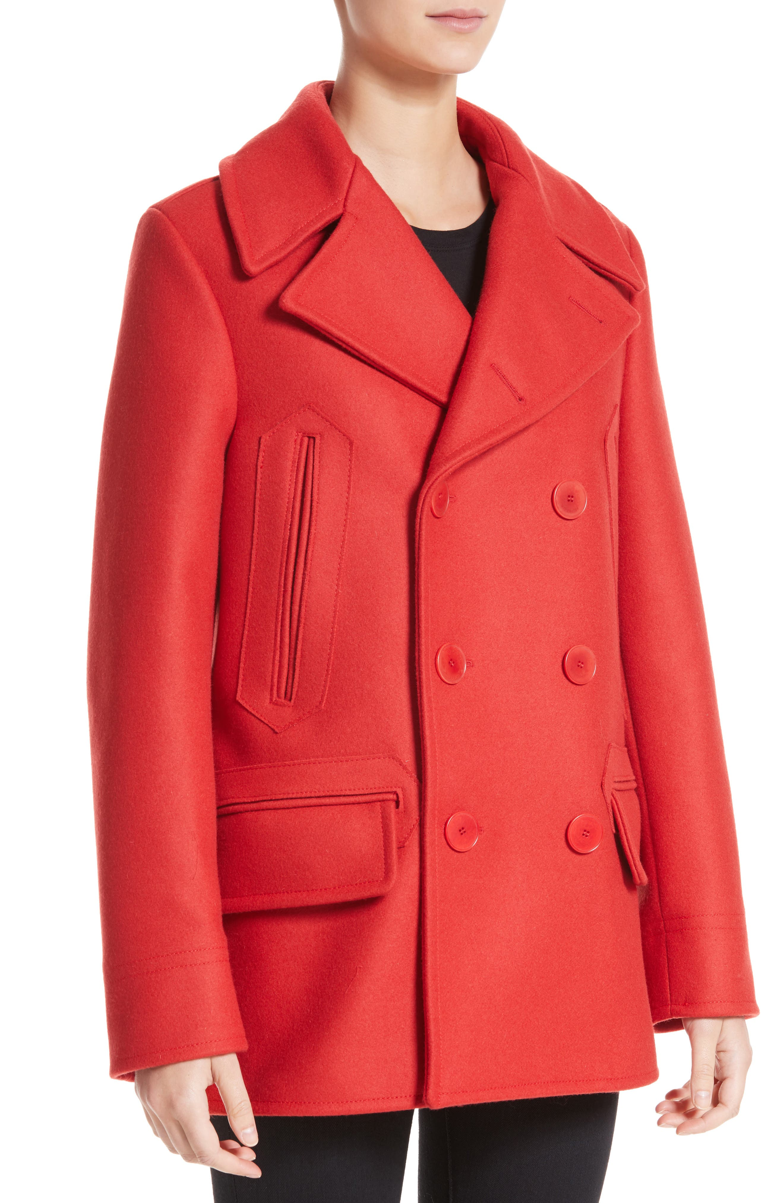 Knit Collar Peacoat,                             Alternate thumbnail 2, color,                             Red