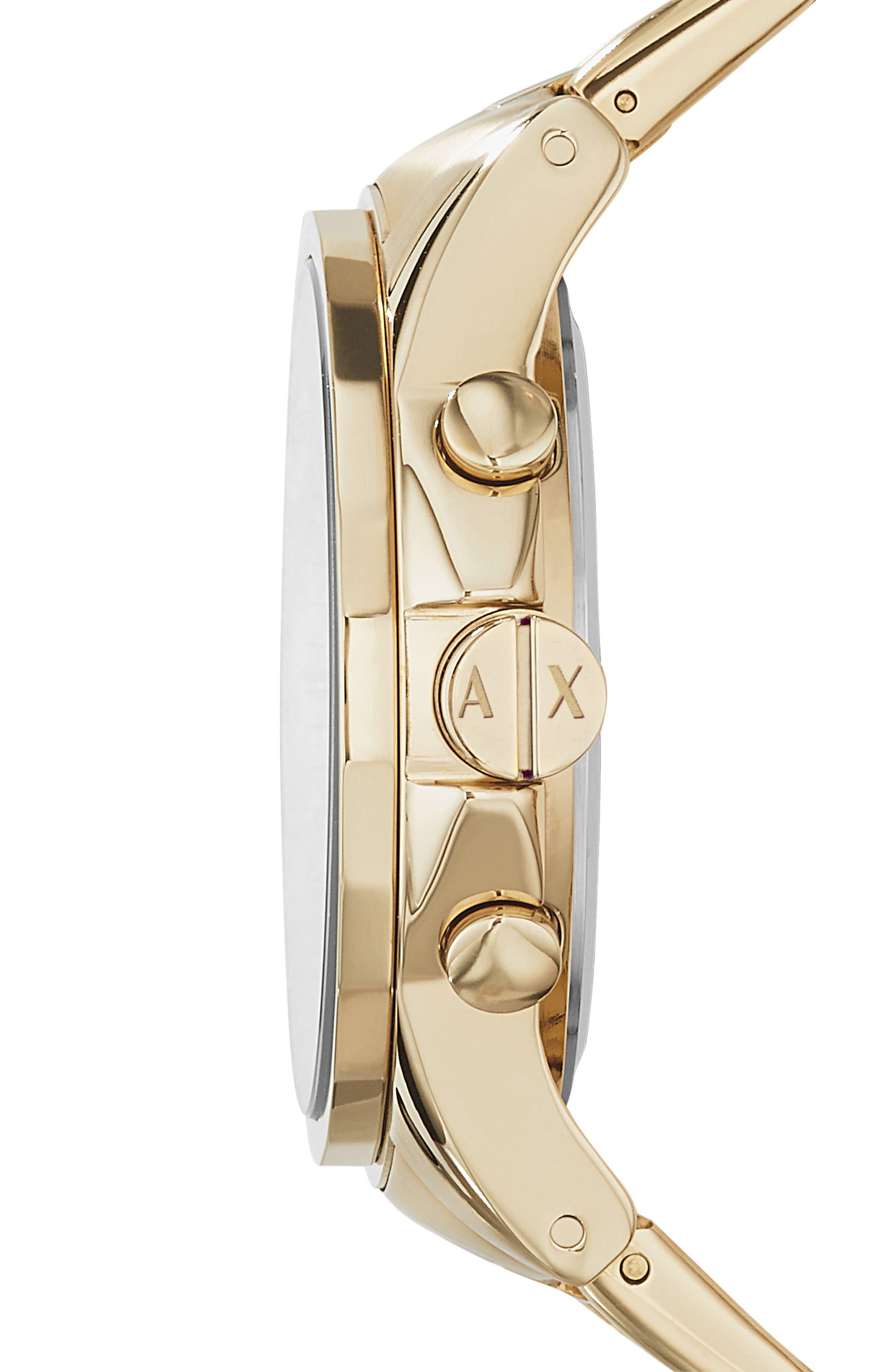 Chronograph Bracelet Watch, 45mm,                             Alternate thumbnail 3, color,                             Gold
