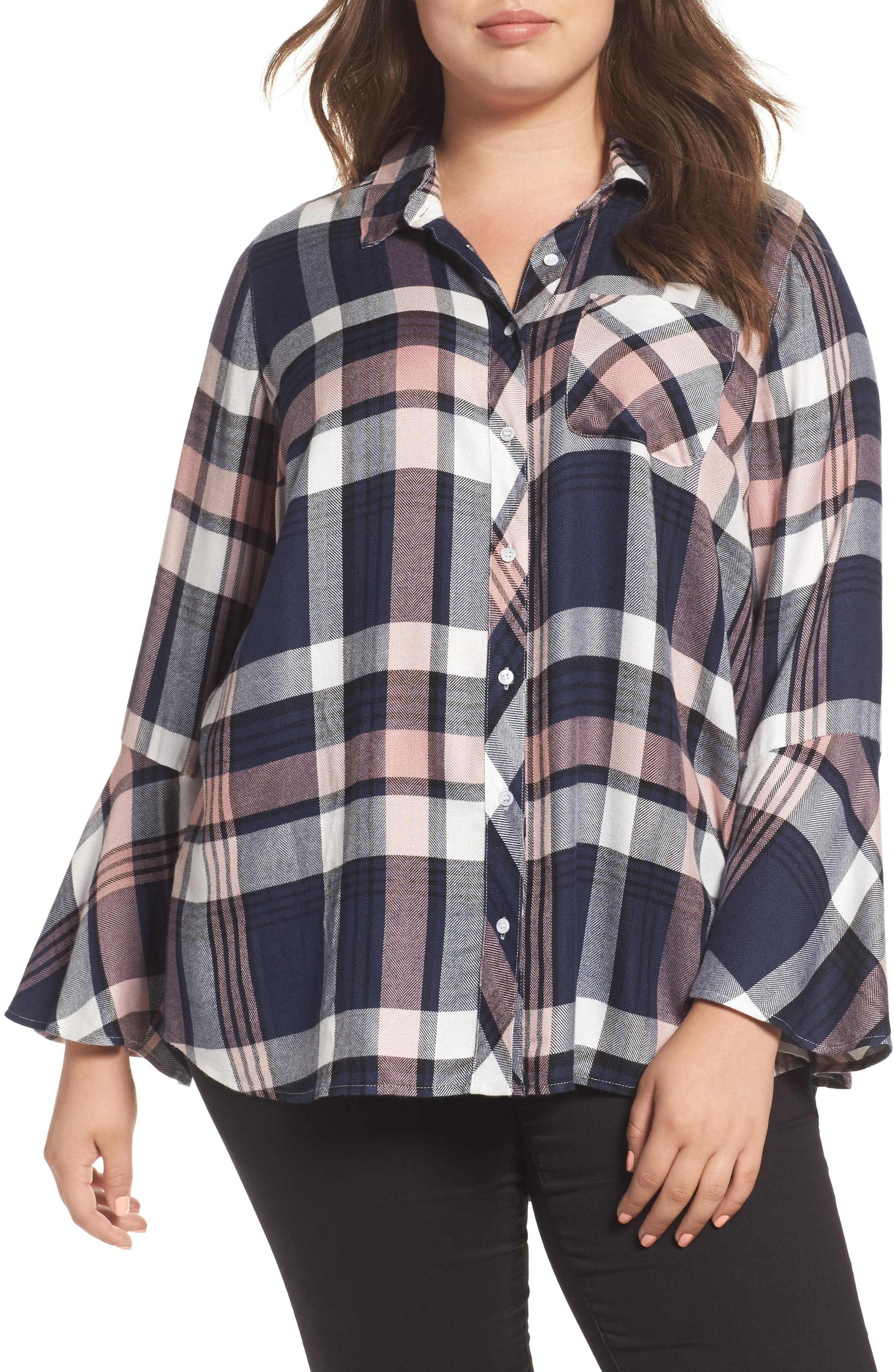 Main Image - Two by Vince Camuto Plaid Bell Sleeve Shirt (Plus Size)