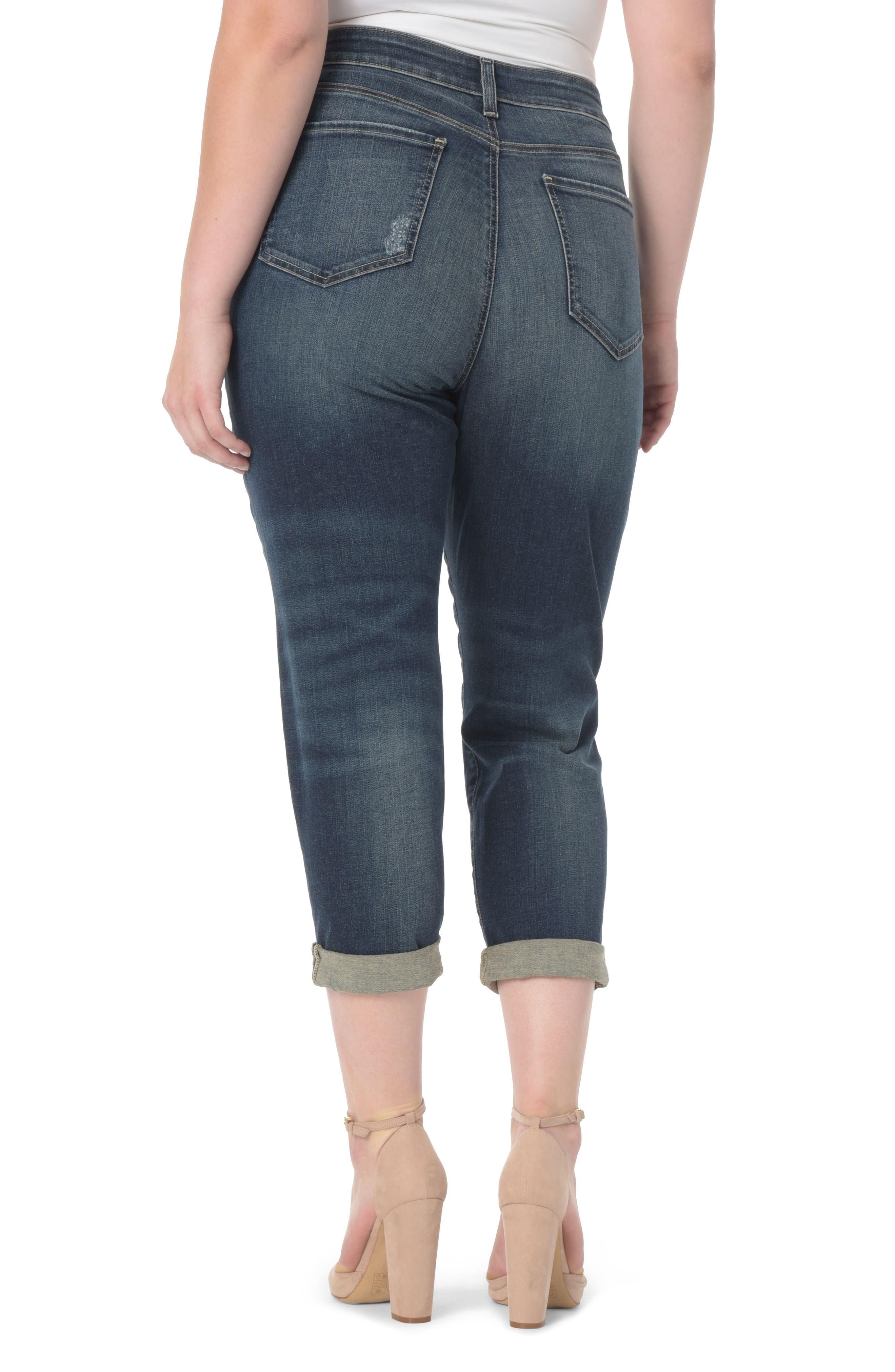 Alternate Image 2  - NYDJ Shadow Patch Stretch Boyfriend Jeans (Horizon) (Plus Size)