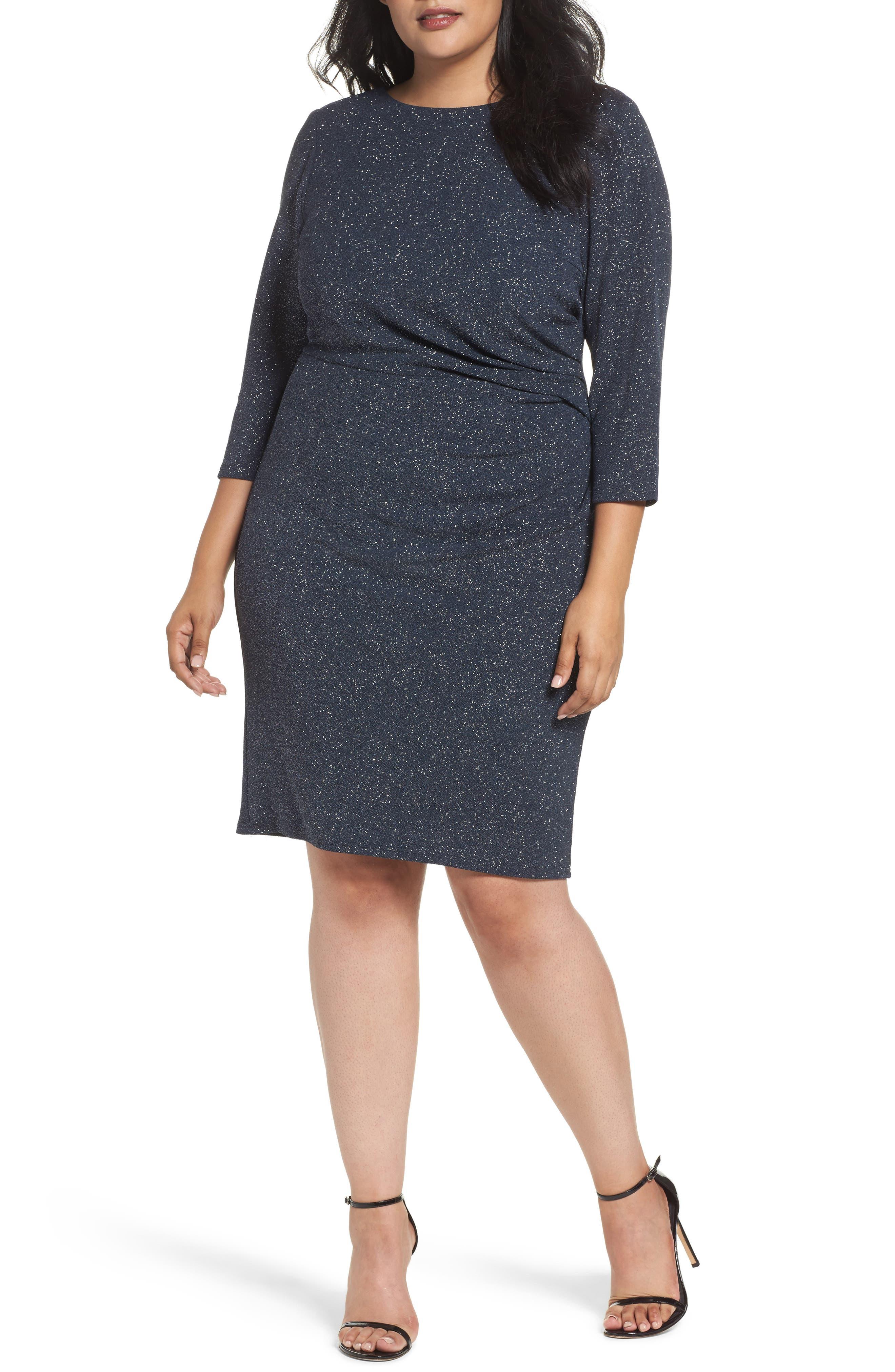 Eliza J Gathered Sheath Dress (Plus Size)