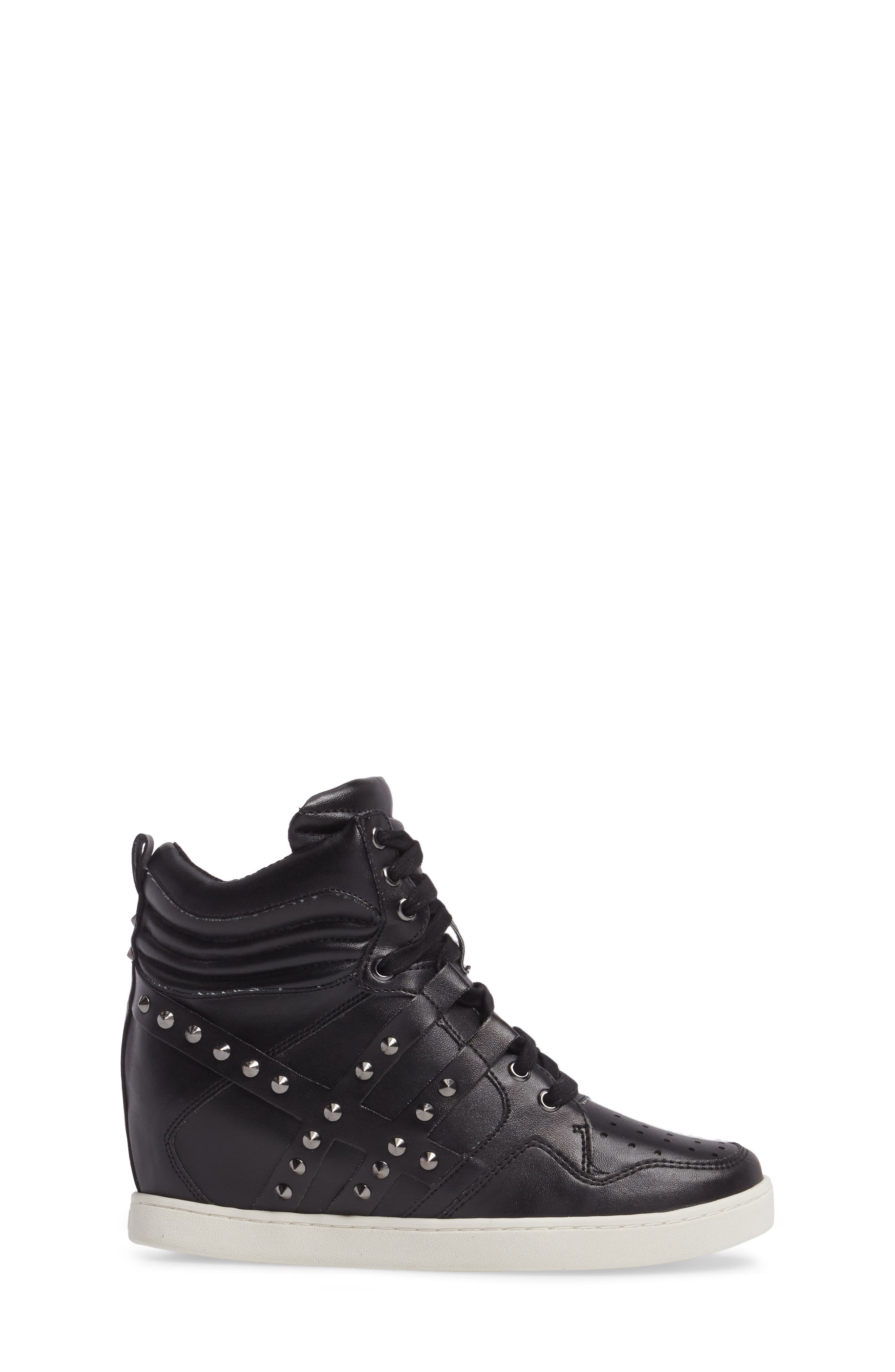 Boogie Chic Studded High Top Sneaker,                             Alternate thumbnail 3, color,                             Black Faux Leather