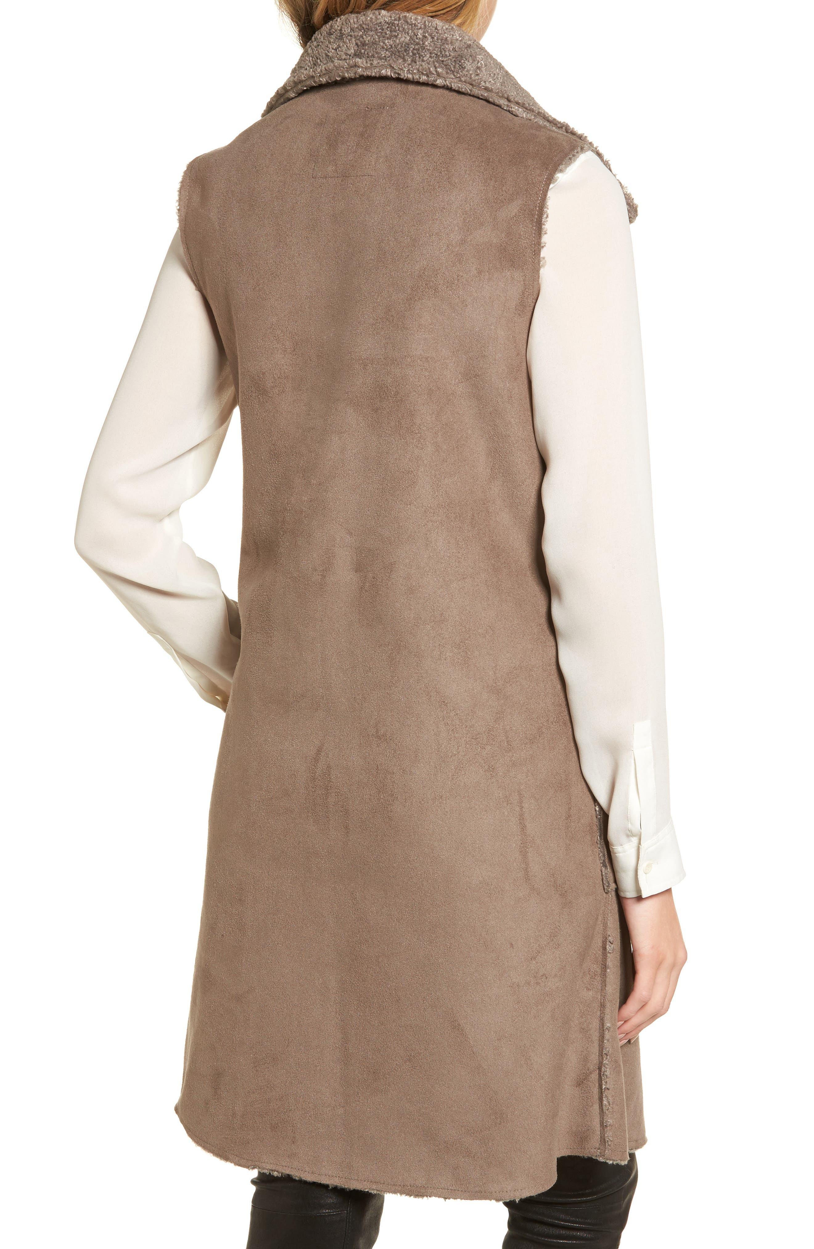 Velvet Reversible Faux Shearling Vest,                             Alternate thumbnail 2, color,                             Brown/ Brown