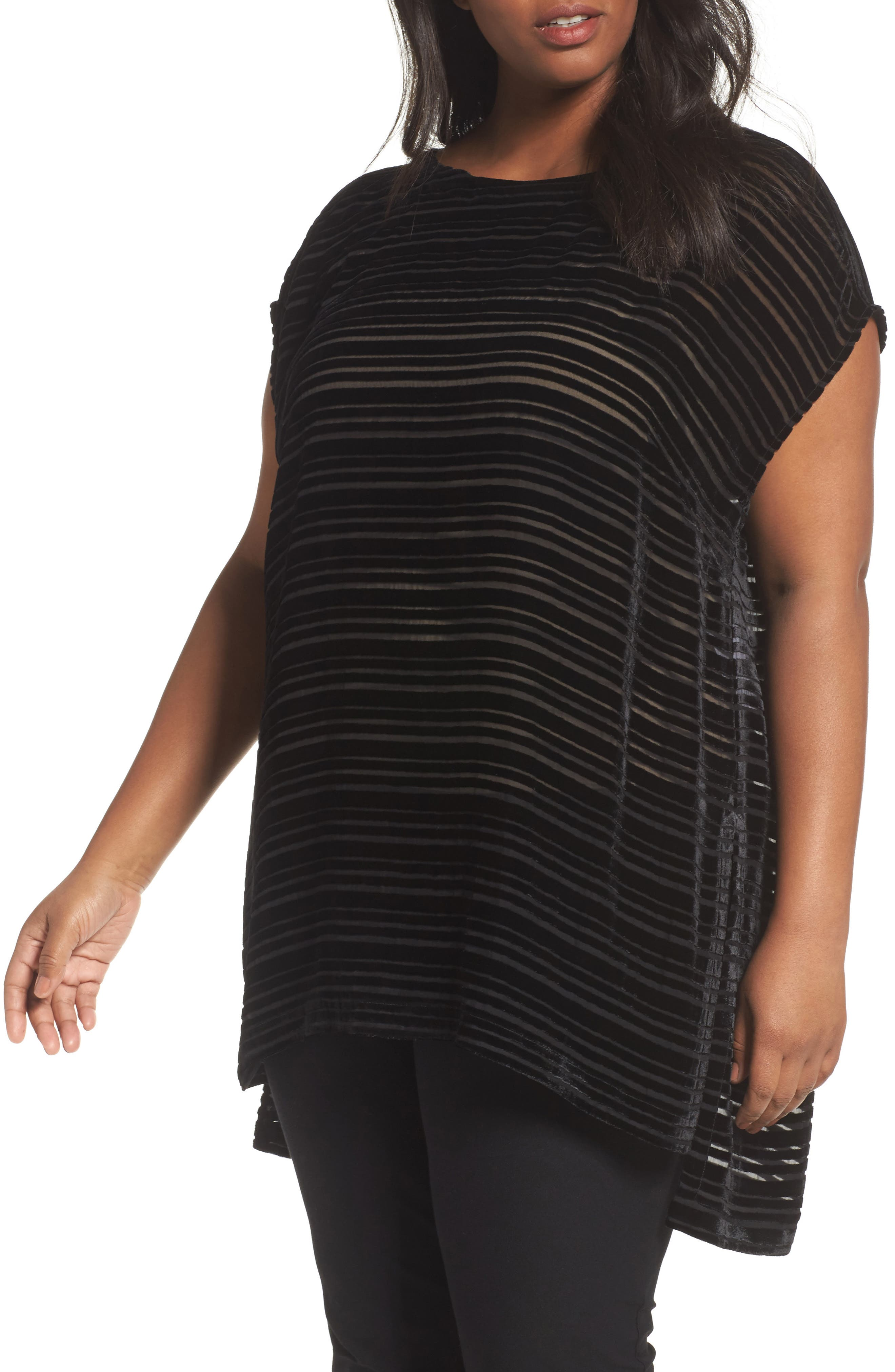 Eileen Fisher Stripe Scoop Neck Tunic (Plus Size)